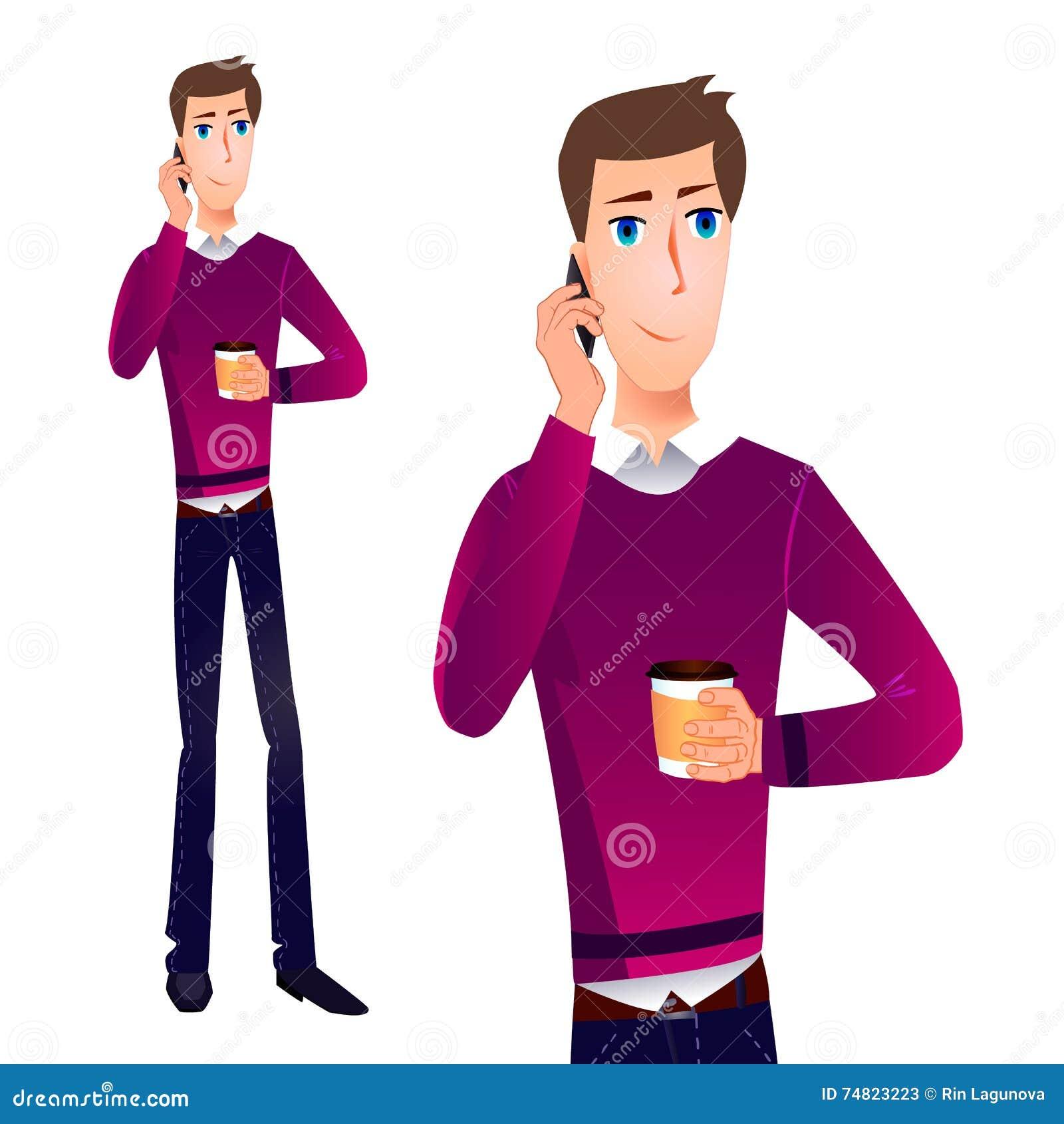 Homem do VETOR dos desenhos animados que fala no telefone