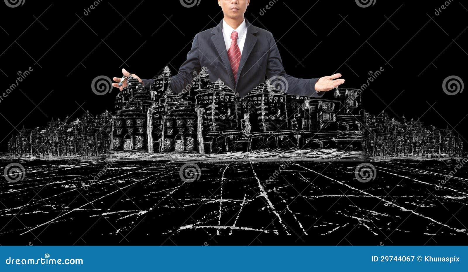 Homem e desenho asiáticos da construção civil moderna no preto