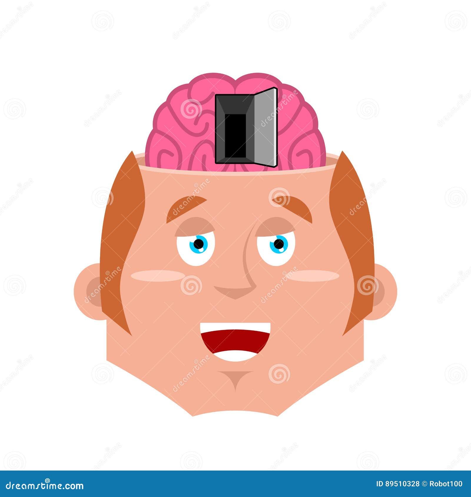 Homem e estar aberto ao cérebro Ilustração da psicologia Conceito do NLP