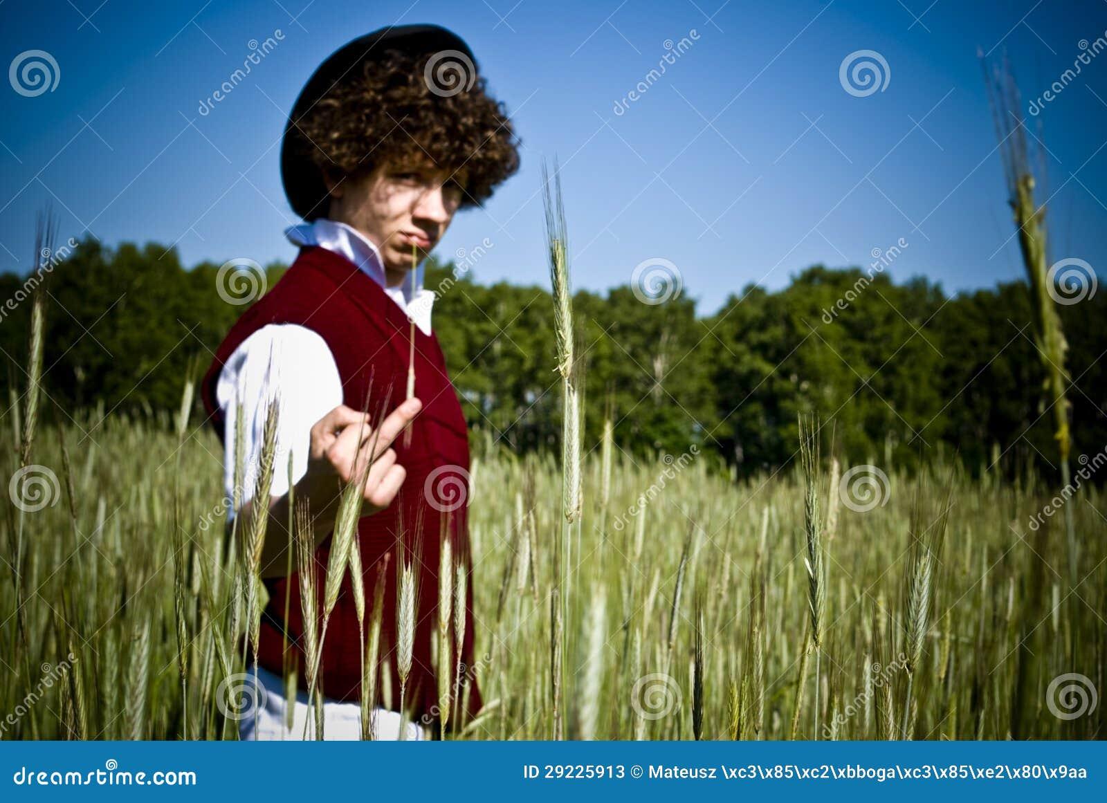 Download Homem Elegante Que Mostra O Gesto Ordinário Imagem de Stock - Imagem de milho, campo: 29225913