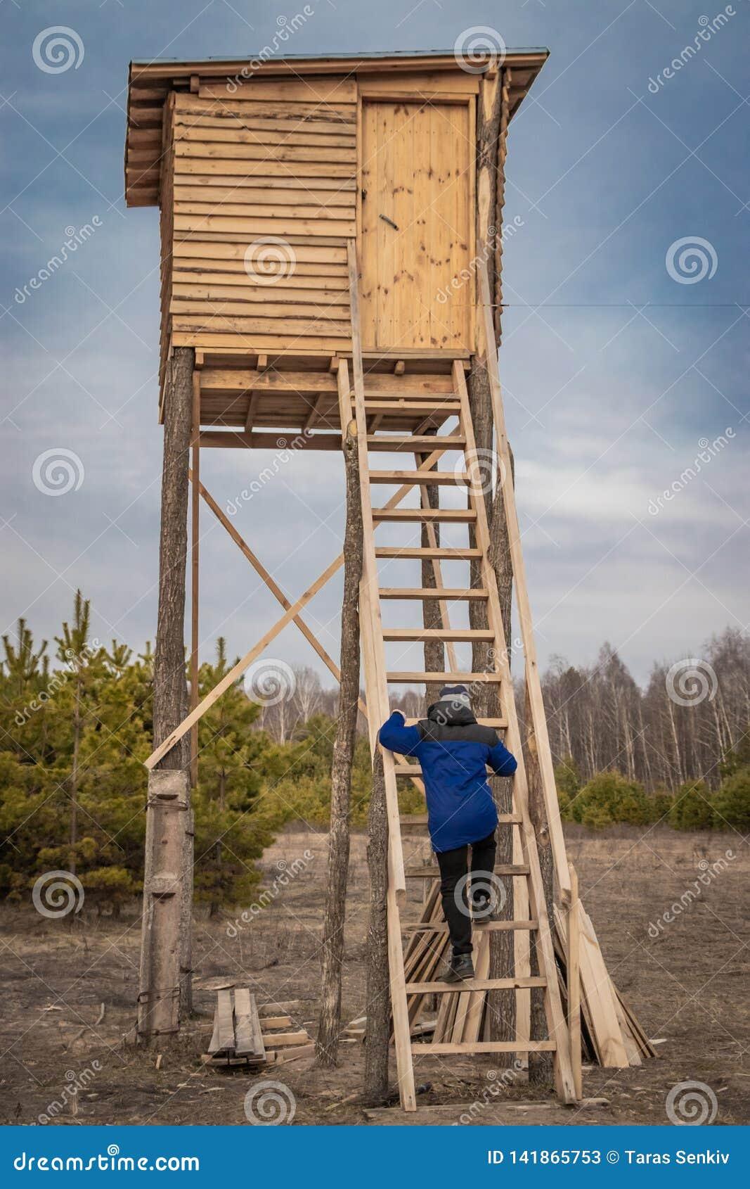 Homem em uma torre de caça de madeira para o tiro ao arco de animais selvagens