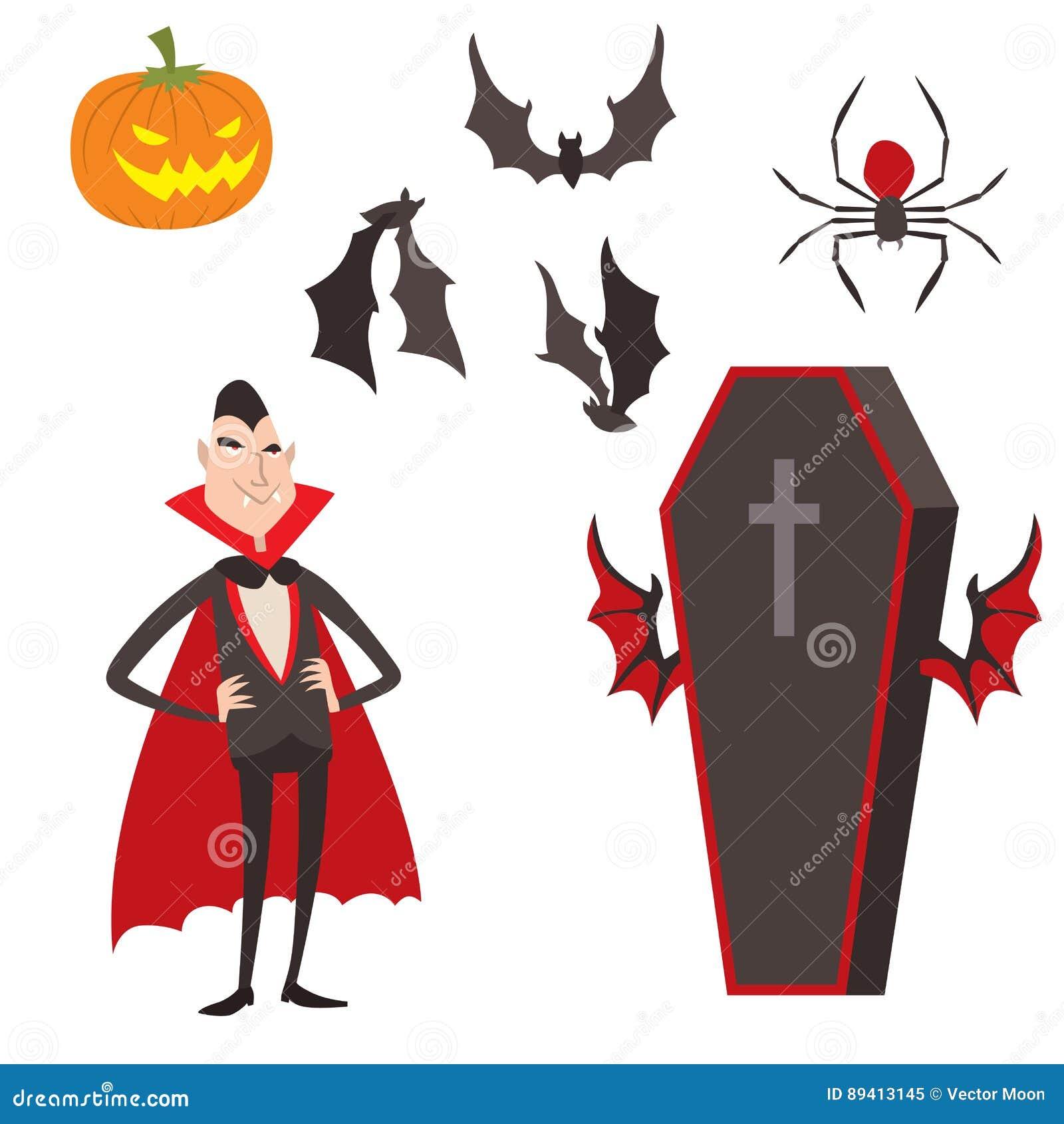 Homem engraçado o Dia das Bruxas do caráter dos ícones do vampiro dos símbolos do vetor de dracula dos desenhos animados e noite