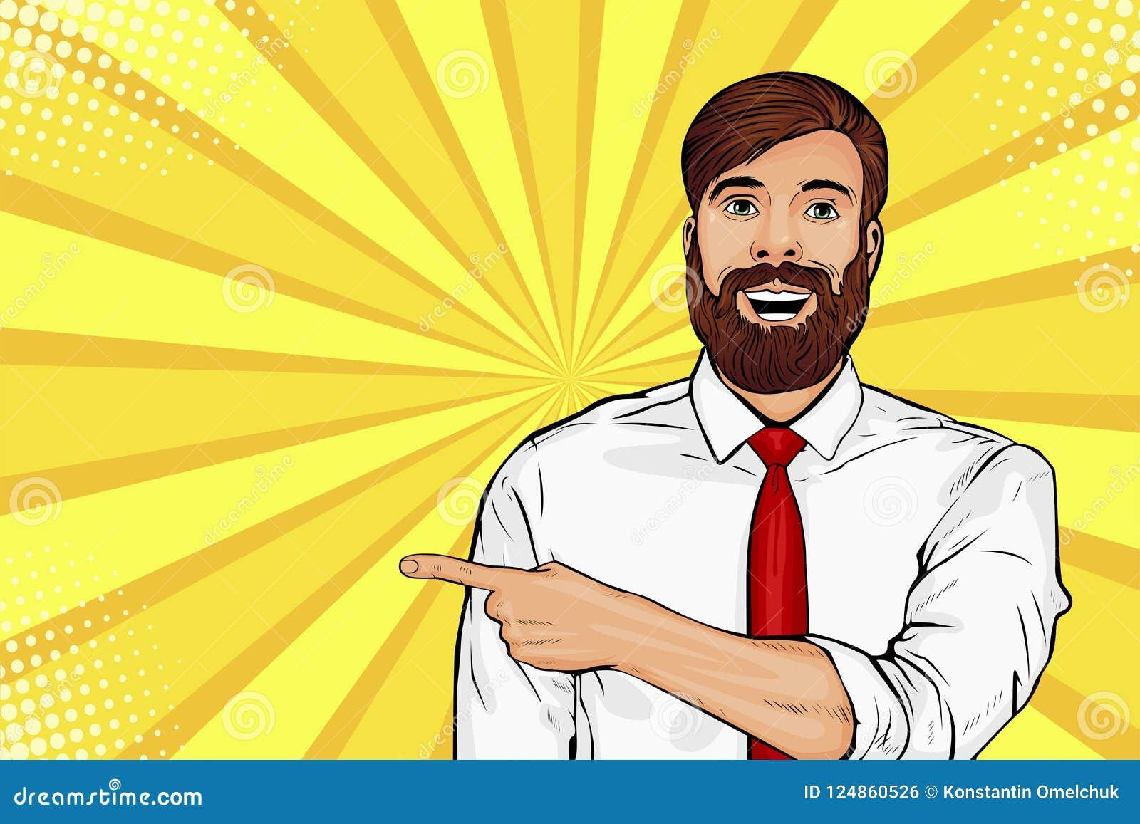 Homem farpado do moderno do pop art com expressão facial chocada Exibição masculina surpreendida pelo dedo