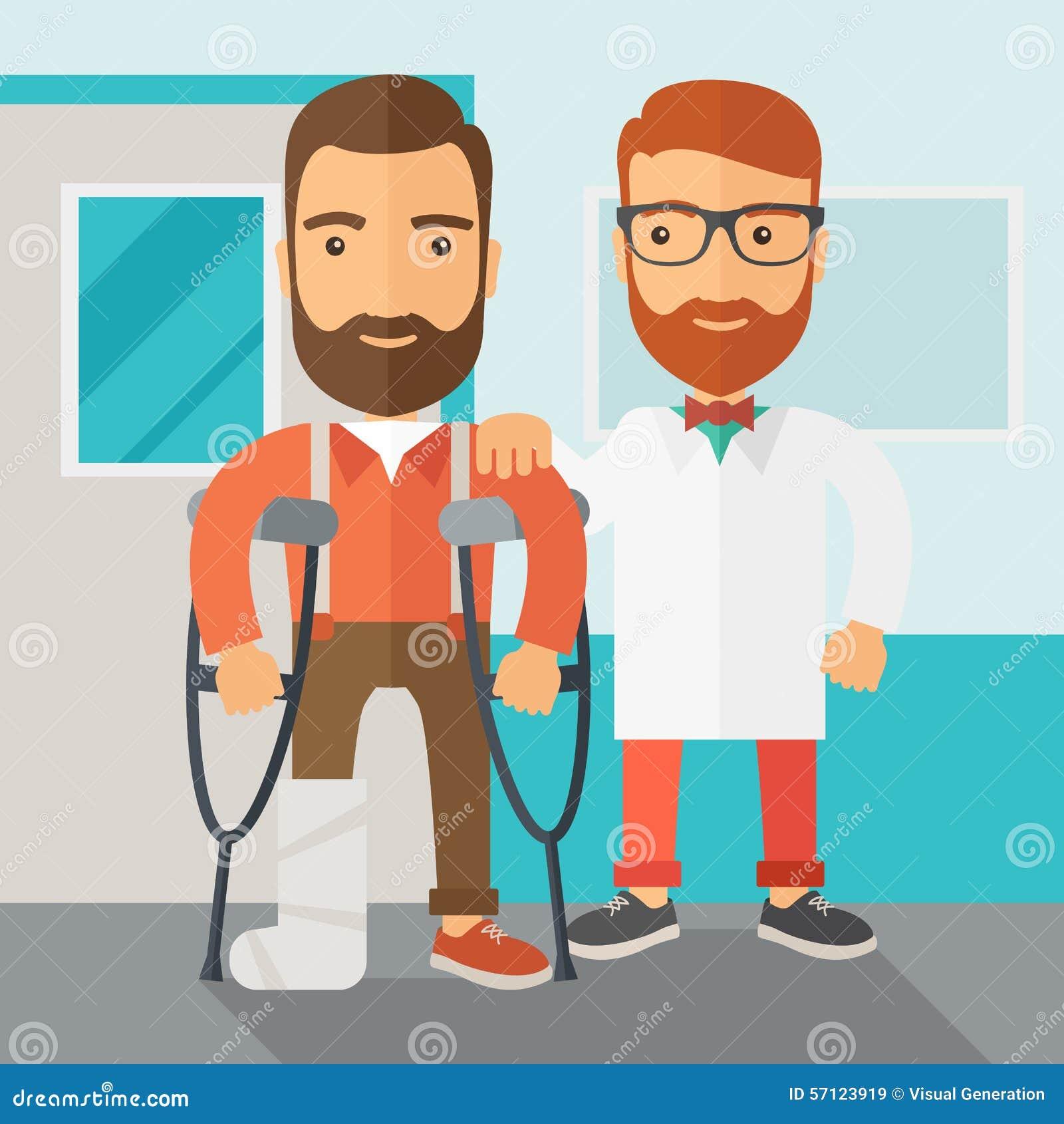 Homem ferido ajudado por um doutor