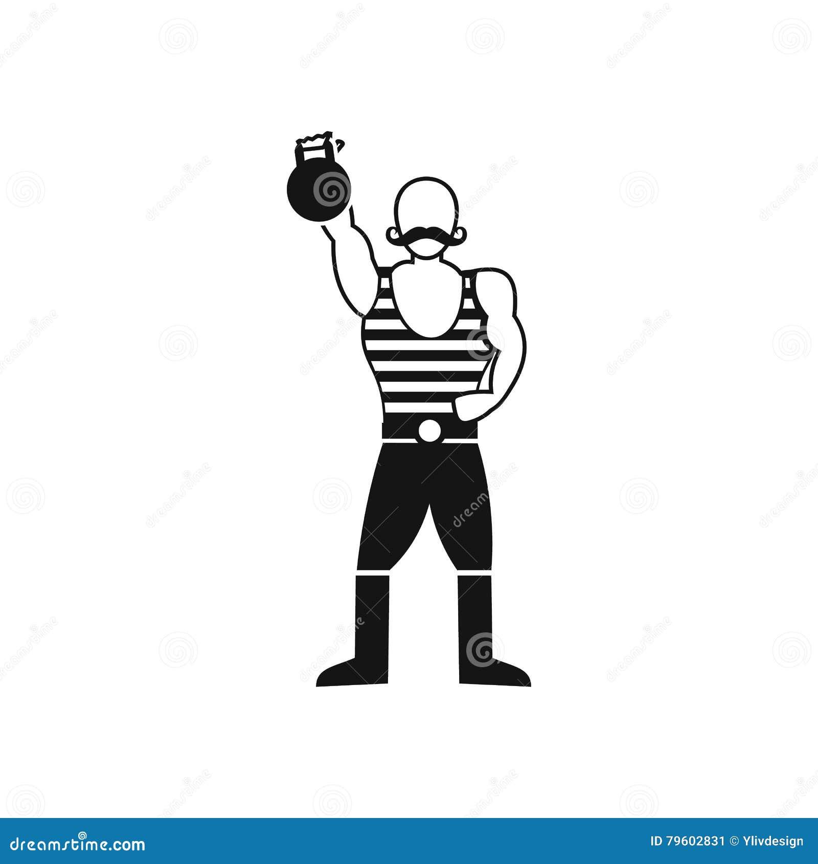 Homem forte com ícone do kettlebell, estilo simples