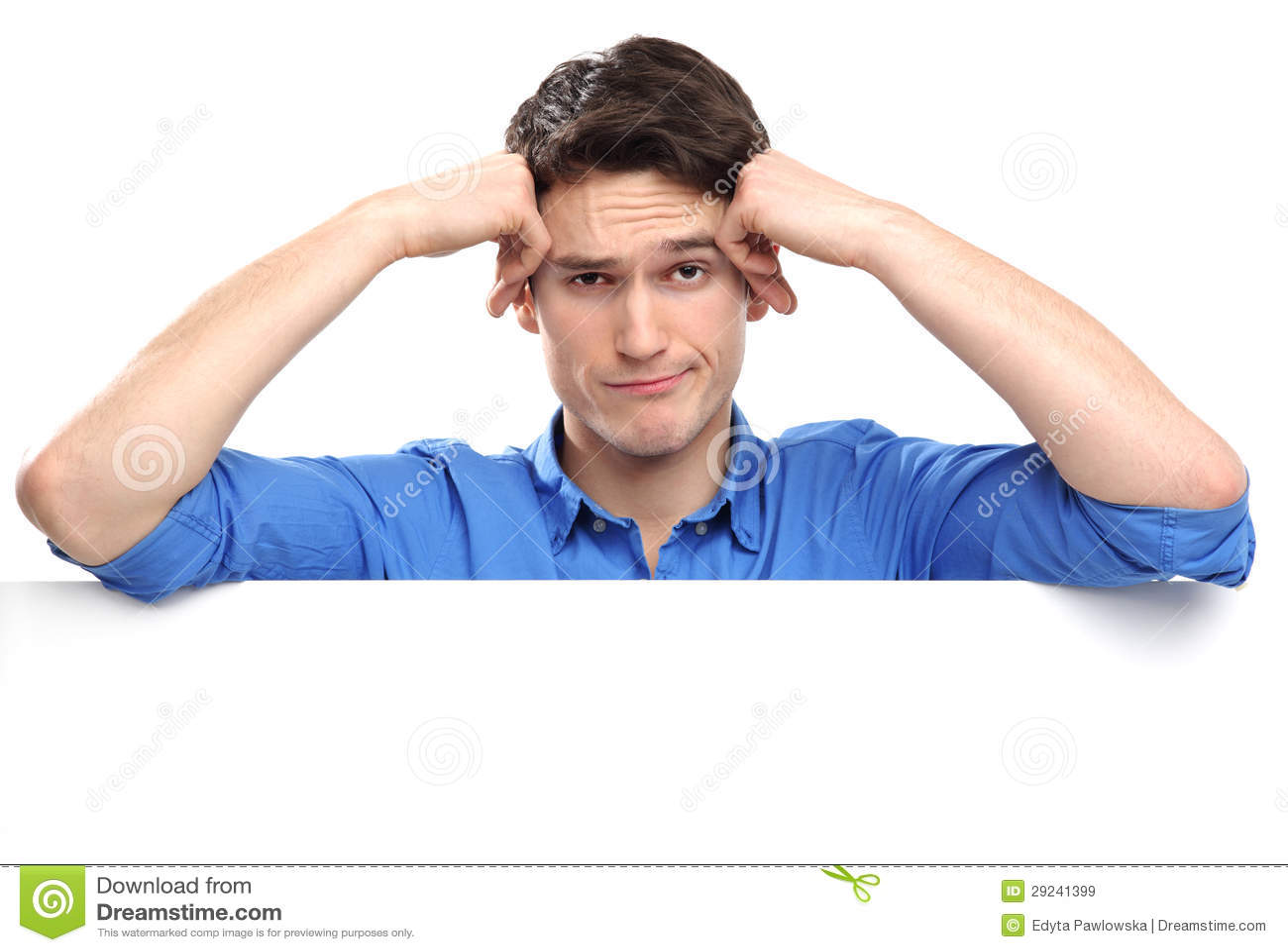 Download Homem Infeliz Que Inclina-se No Whiteboard Imagem de Stock - Imagem de novo, homem: 29241399