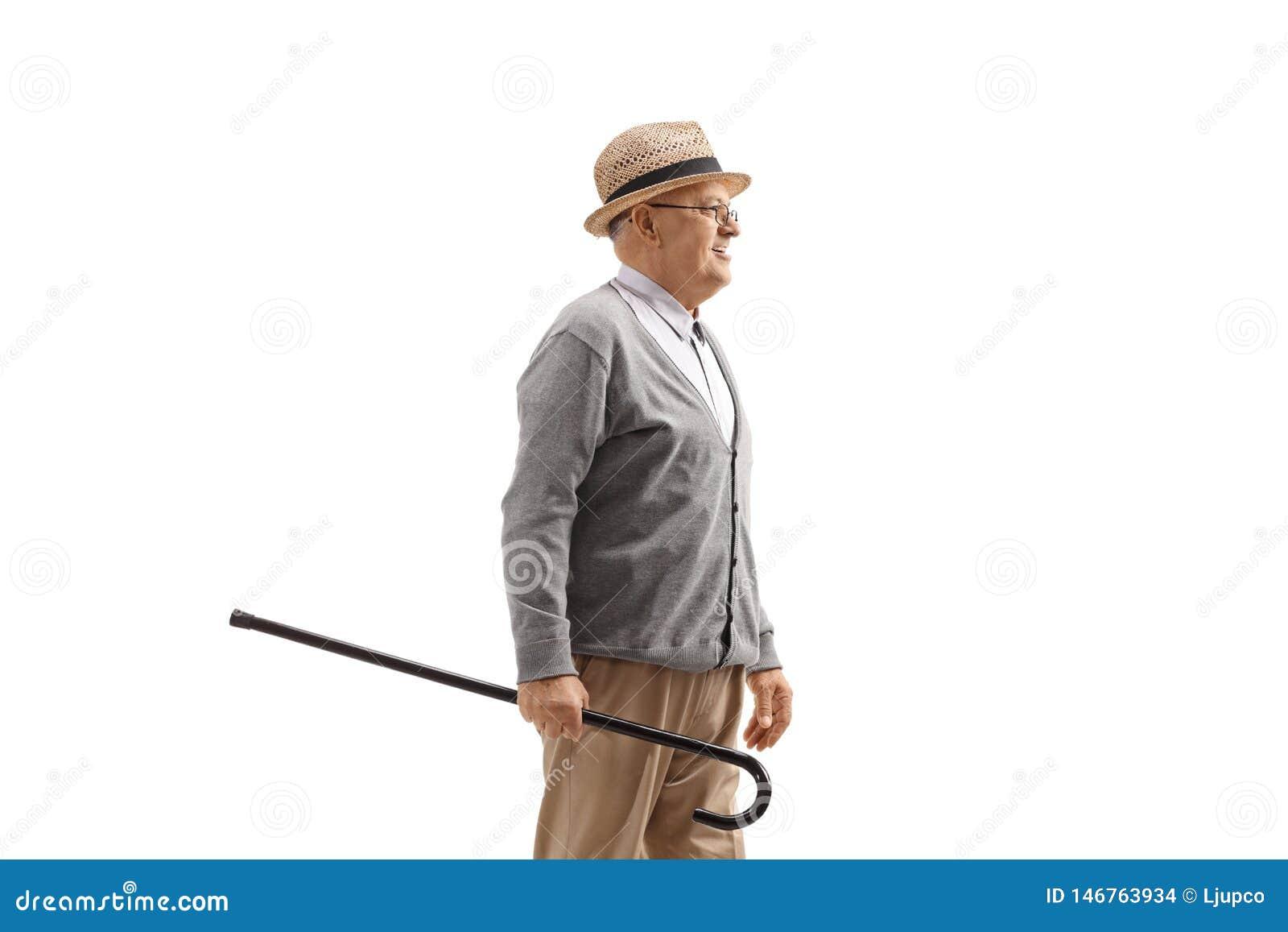 Homem maduro com um bastão