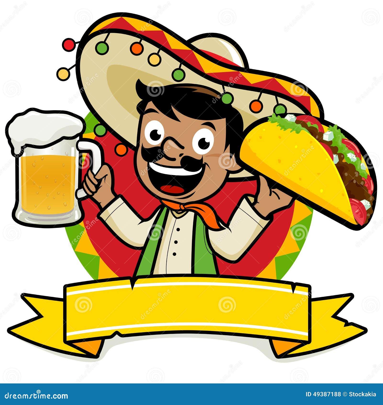 Homem mexicano que guarda uma cerveja fria e um taco