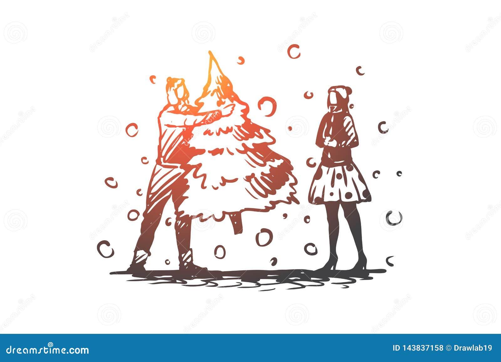 Homem, mulher, Natal, árvore, conceito do feriado Vetor isolado tirado mão