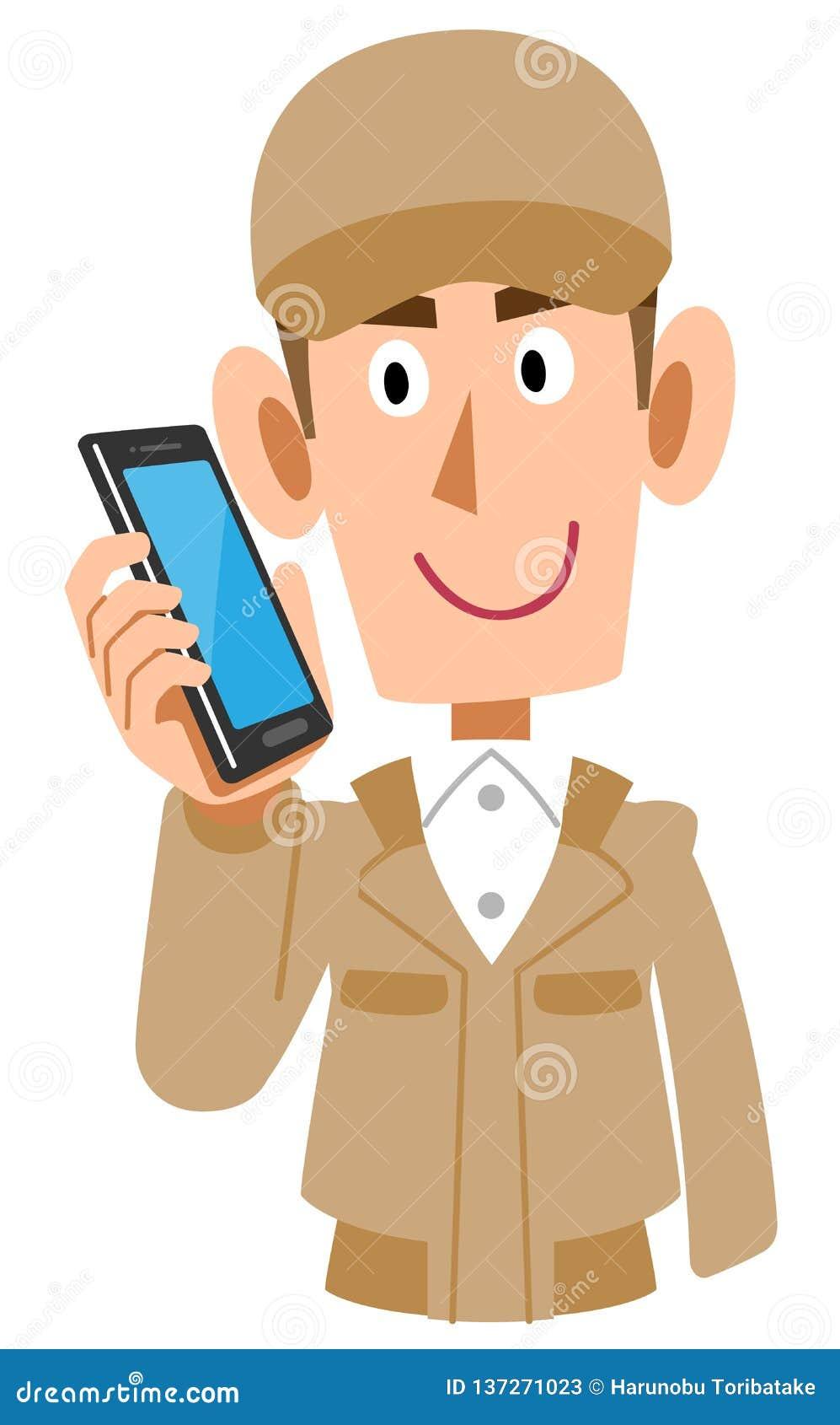 Homem na roupa de trabalho bege a falar no telefone celular
