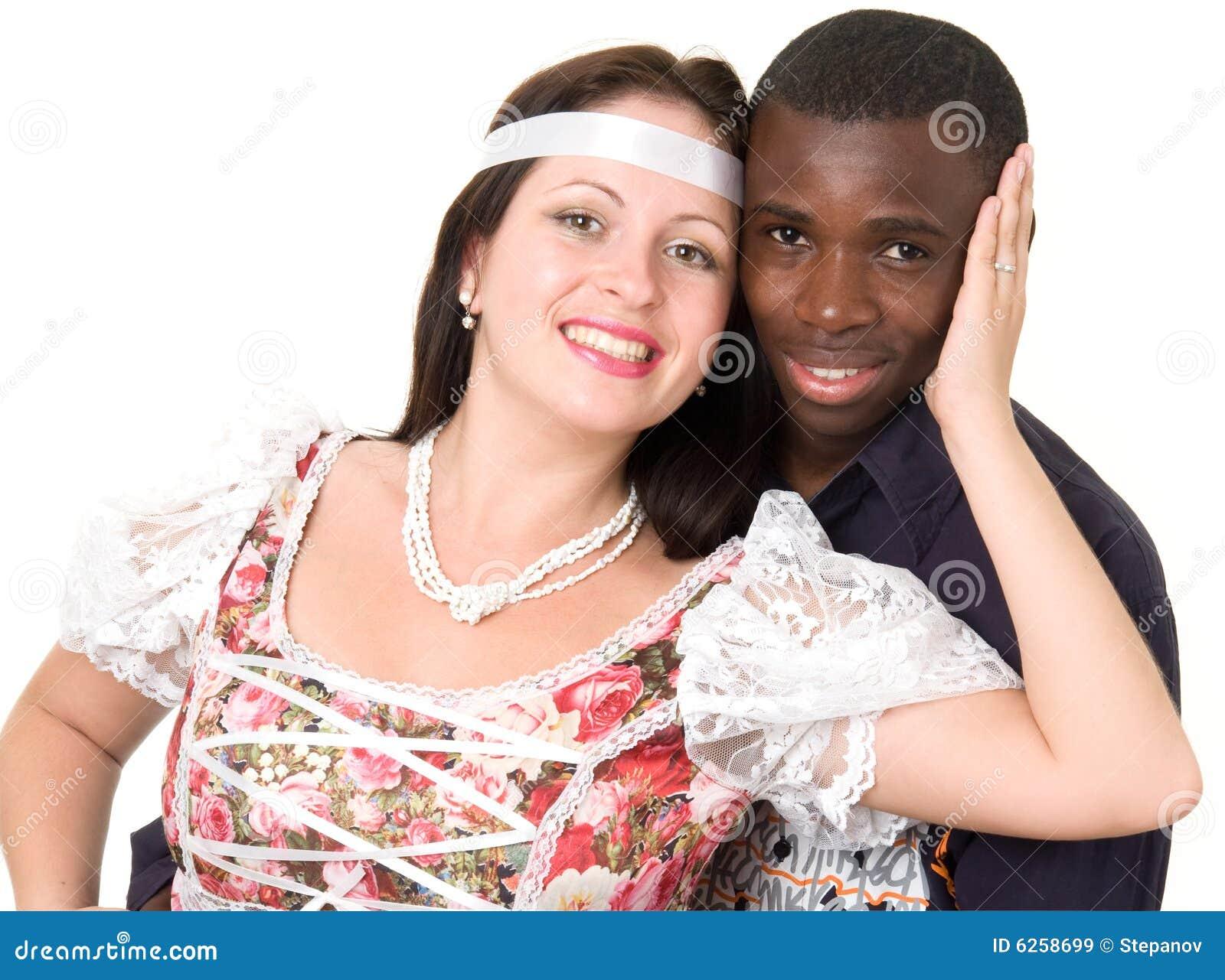 Homem Negro E Mulher Branca Pares Loving Em Um Fundo Branco