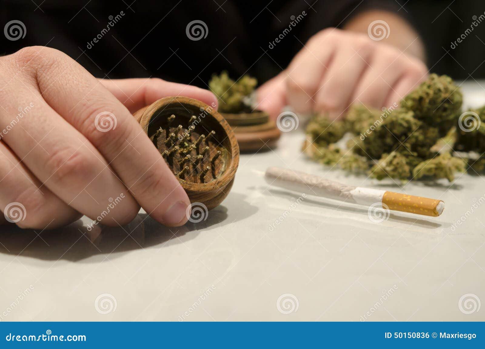 Homem anônimo que prepara o charuto da droga da marijuana