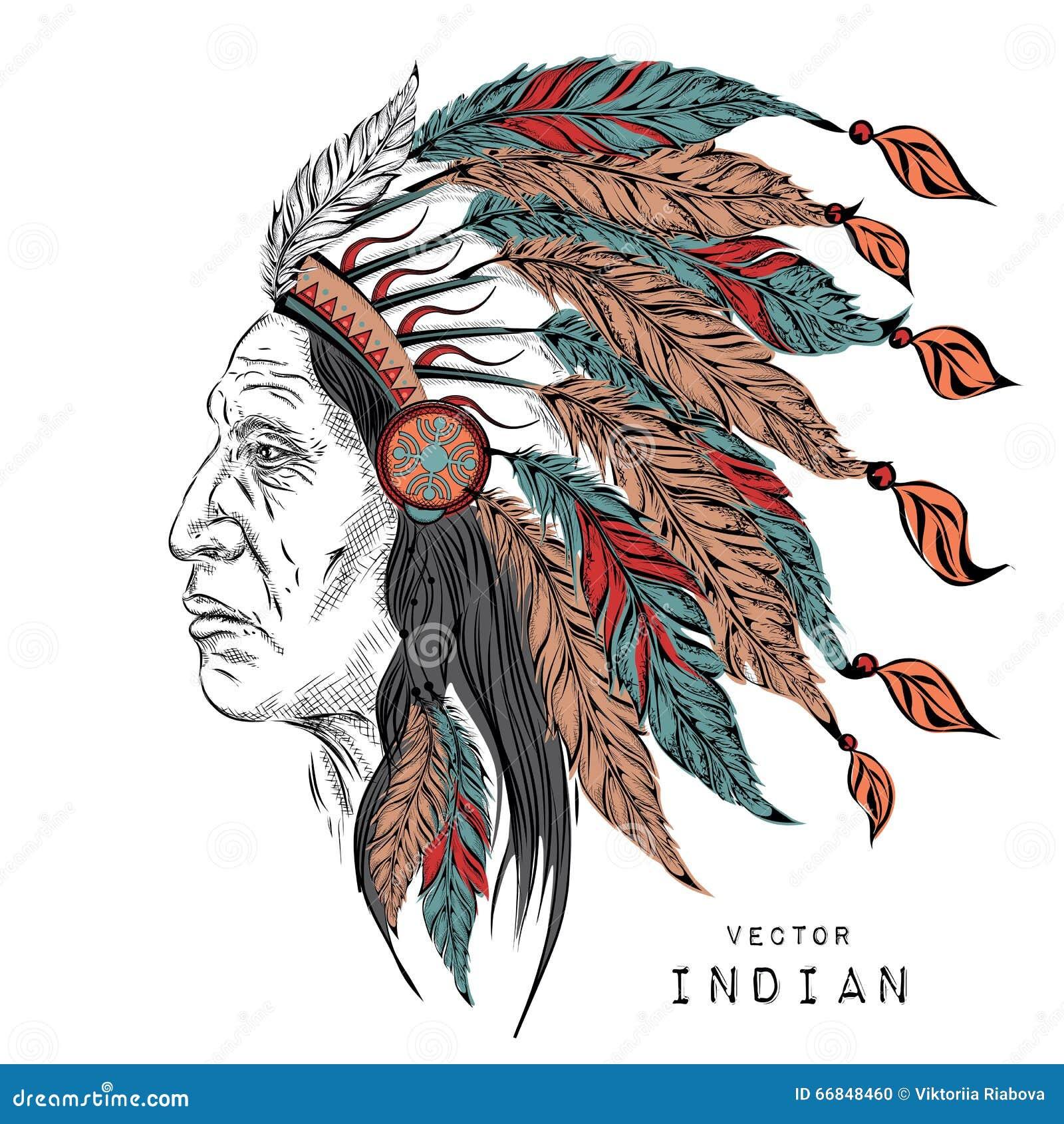 Homem no chefe indiano do nativo americano Barata preta Mantilha indiana da pena da águia Ilustração do vetor da tração da mão