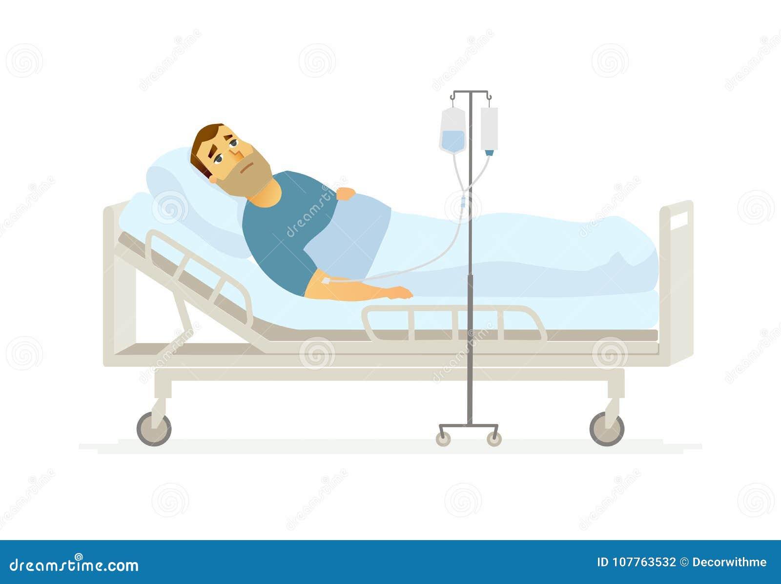 Homem no hospital em um gotejamento - ilustração dos caráteres dos povos dos desenhos animados