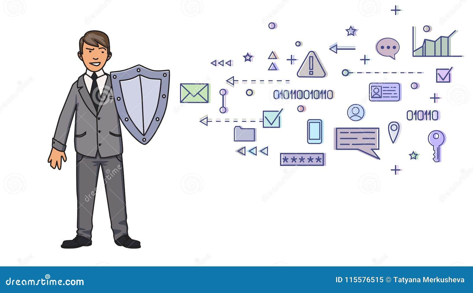 Homem no terno de negócio que protege-se com um protetor dos símbolos digitais e da rede Proteção de dados pessoal GDPR