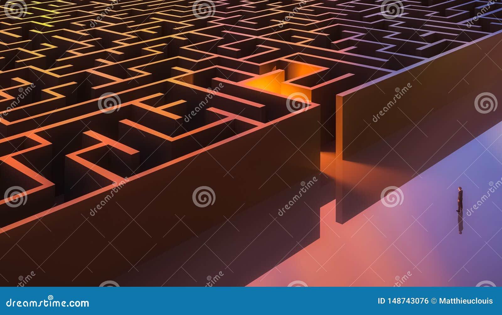Homem no terno que est? na frente de uma entrada retangular do labirinto a?reo Sum?rio e conceptual