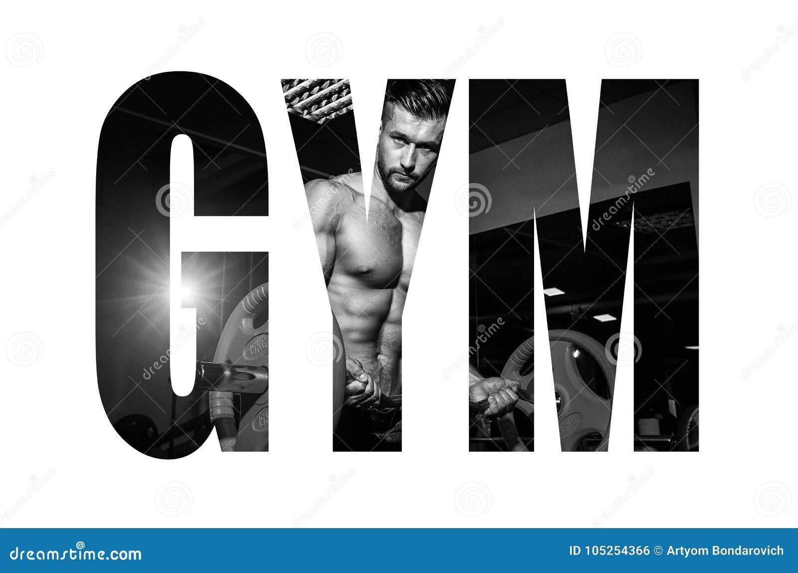 Homem novo atlético que faz exercícios com o barbell no gym O indivíduo muscular considerável do halterofilista está dando certo