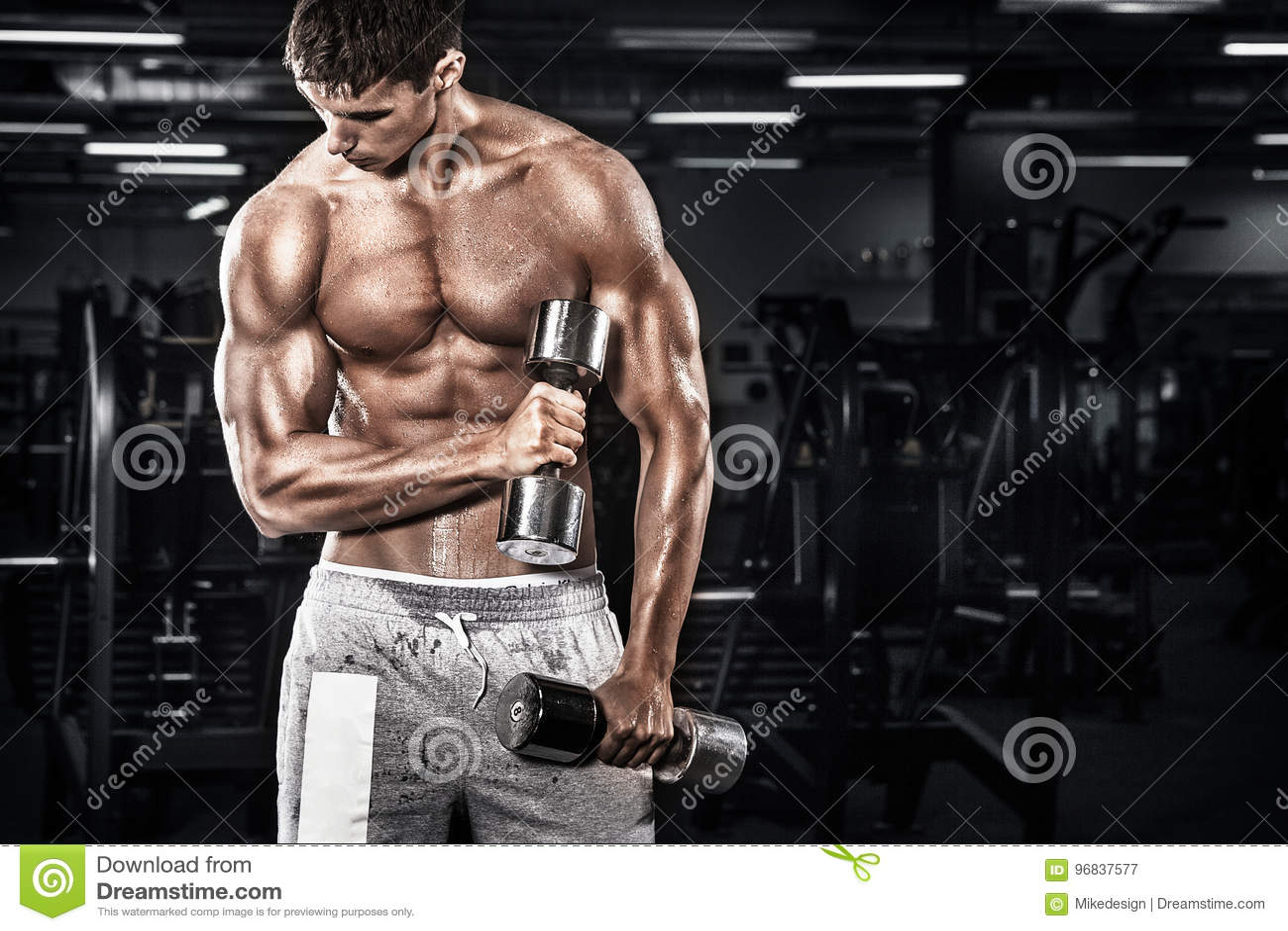 Homem novo descamisado atlético dos esportes - o modelo da aptidão guarda o peso no gym Copie a frente do espaço seu texto