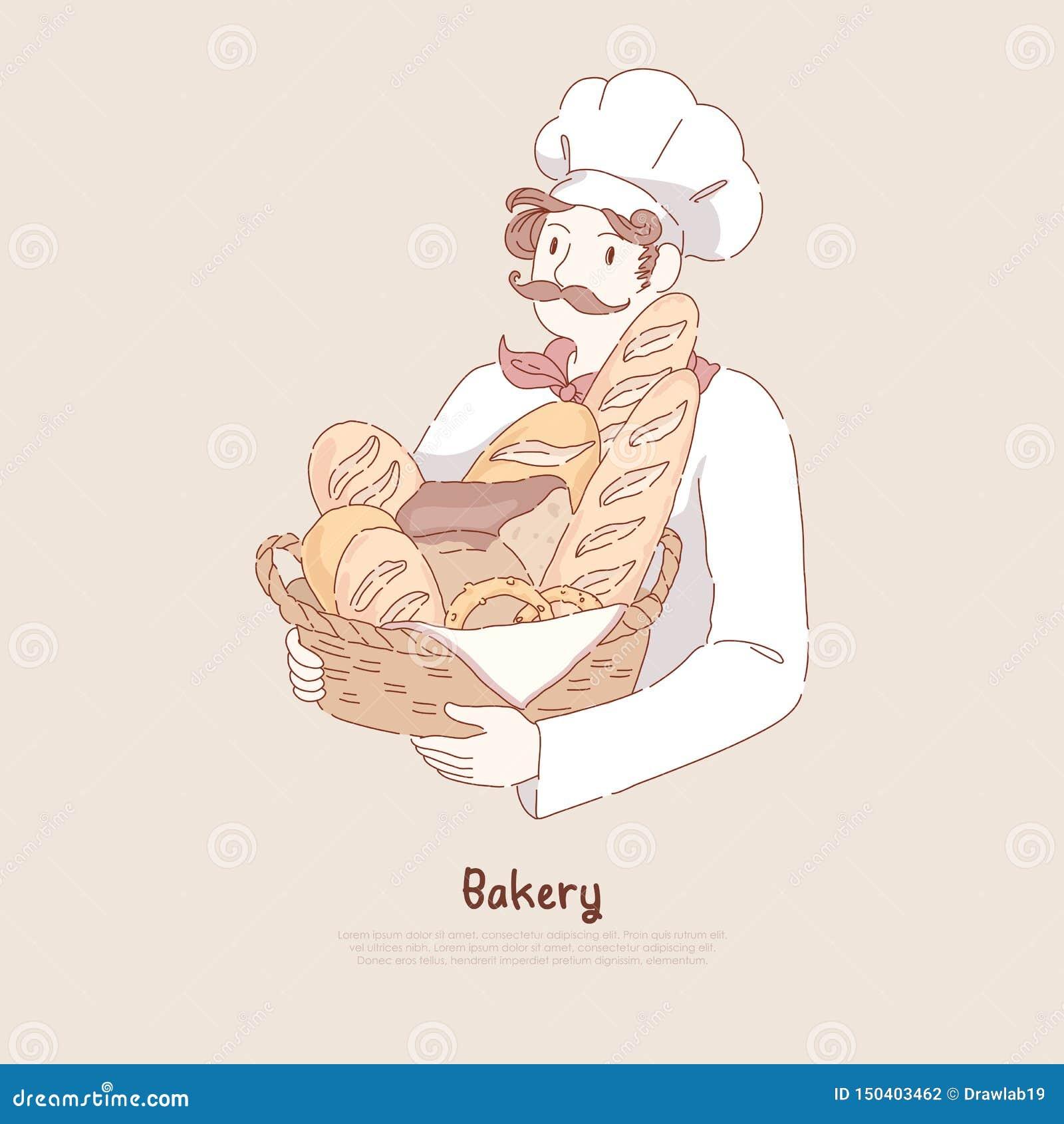Homem novo na cesta com cozimento caseiro, pastelaria deliciosa da terra arrendada do tampão do cozinheiro chefe, baguette, pretz