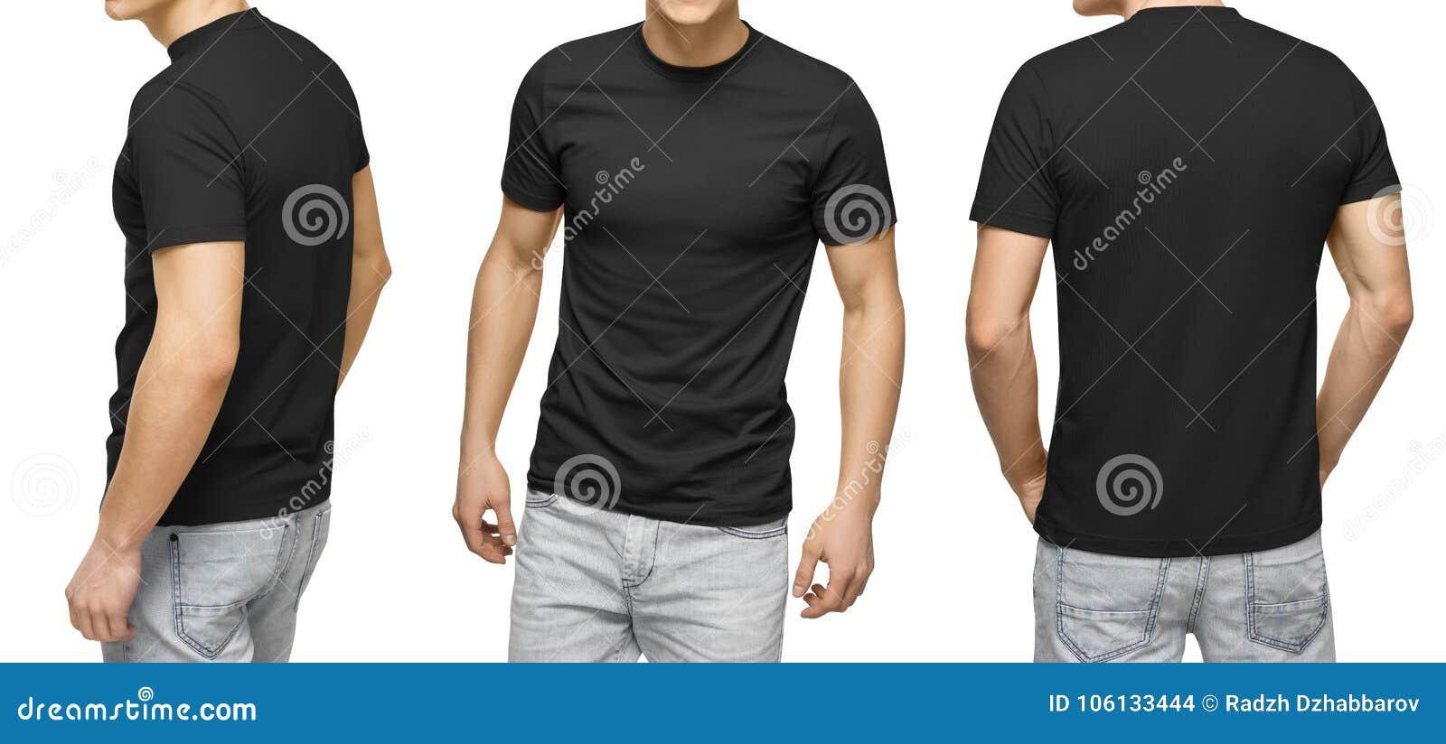Homem novo no t-shirt preto vazio, na parte dianteira e na vista traseira, fundo branco Projete o molde e o modelo do tshirt dos