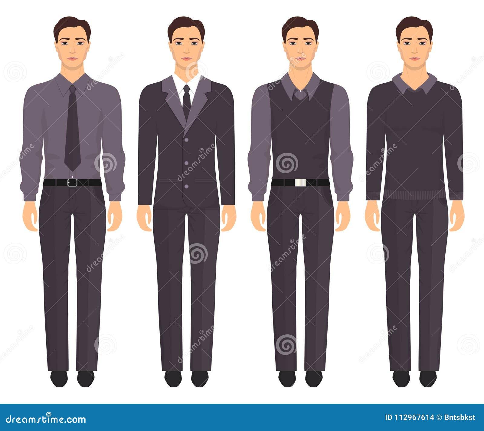 0f9467eac Homem novo que está no crescimento completo na roupa formal diferente Homem  na roupa elegante e