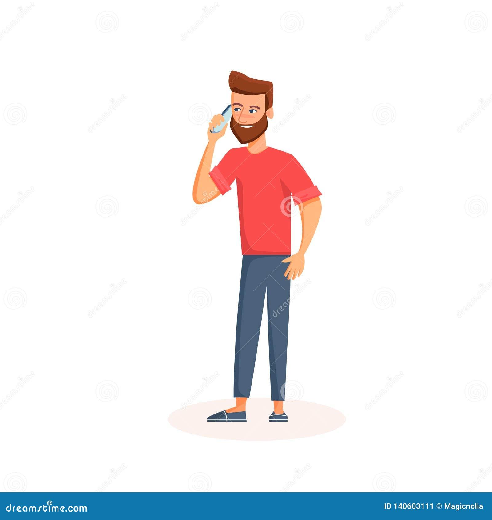 Homem novo que fala em um telefone com cara de sorriso Personagem de banda desenhada que usa o smartphone Isolado no fundo branco