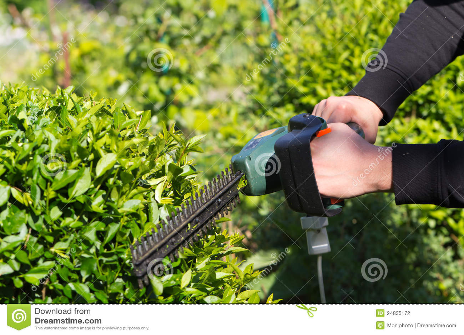 Homem novo que sega a grama