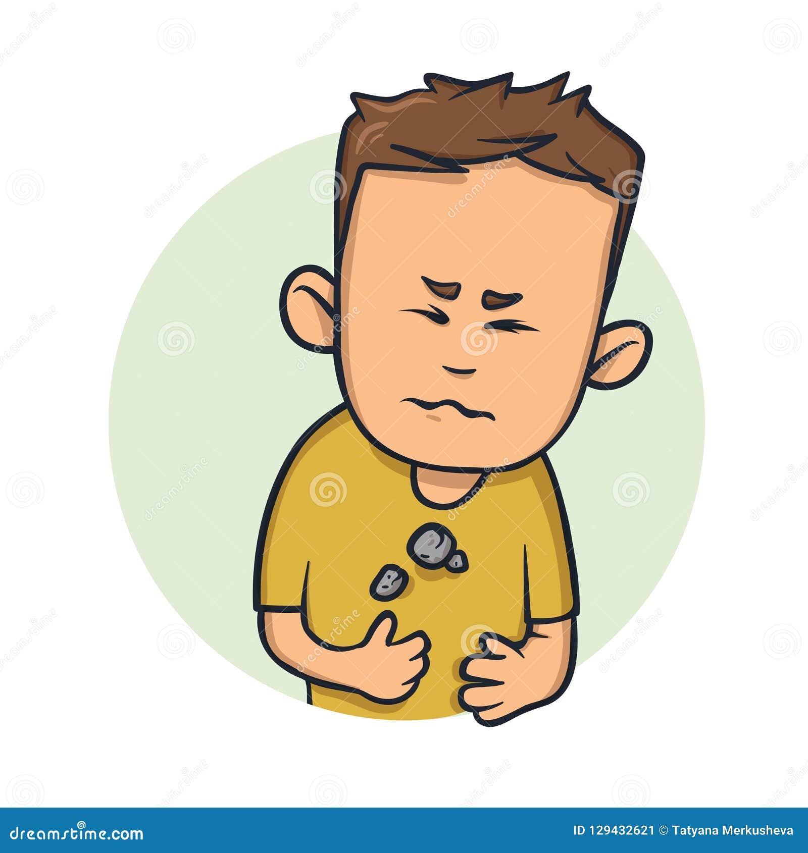 Homem novo que sente pesado em sua dificuldade da caixa para respirar Ícone do projeto dos desenhos animados Ilustração lisa do v