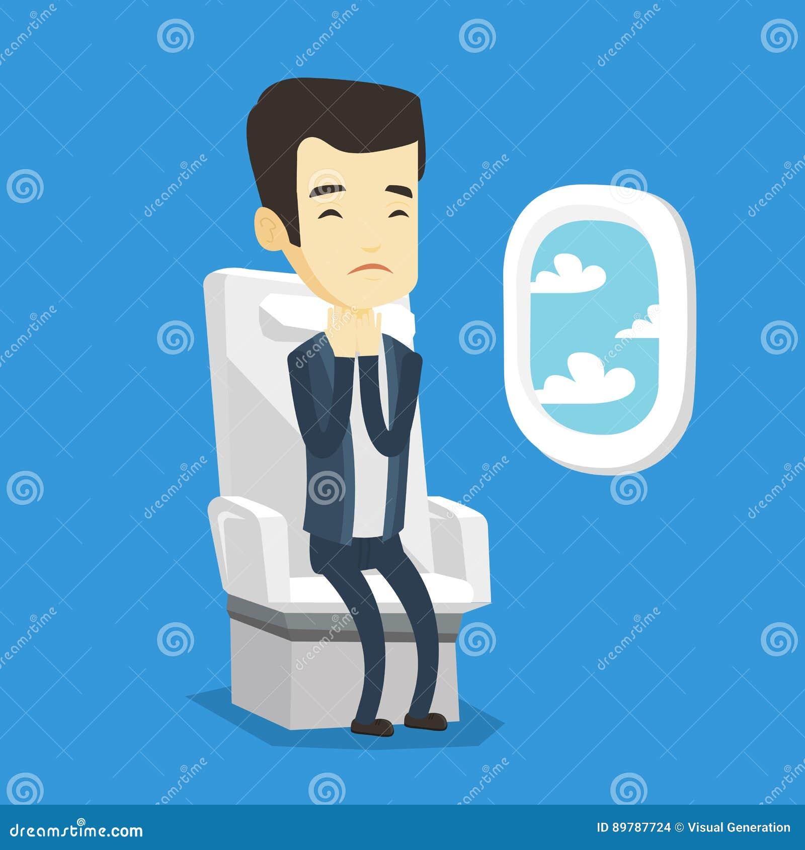 Homem novo que sofre do medo do voo
