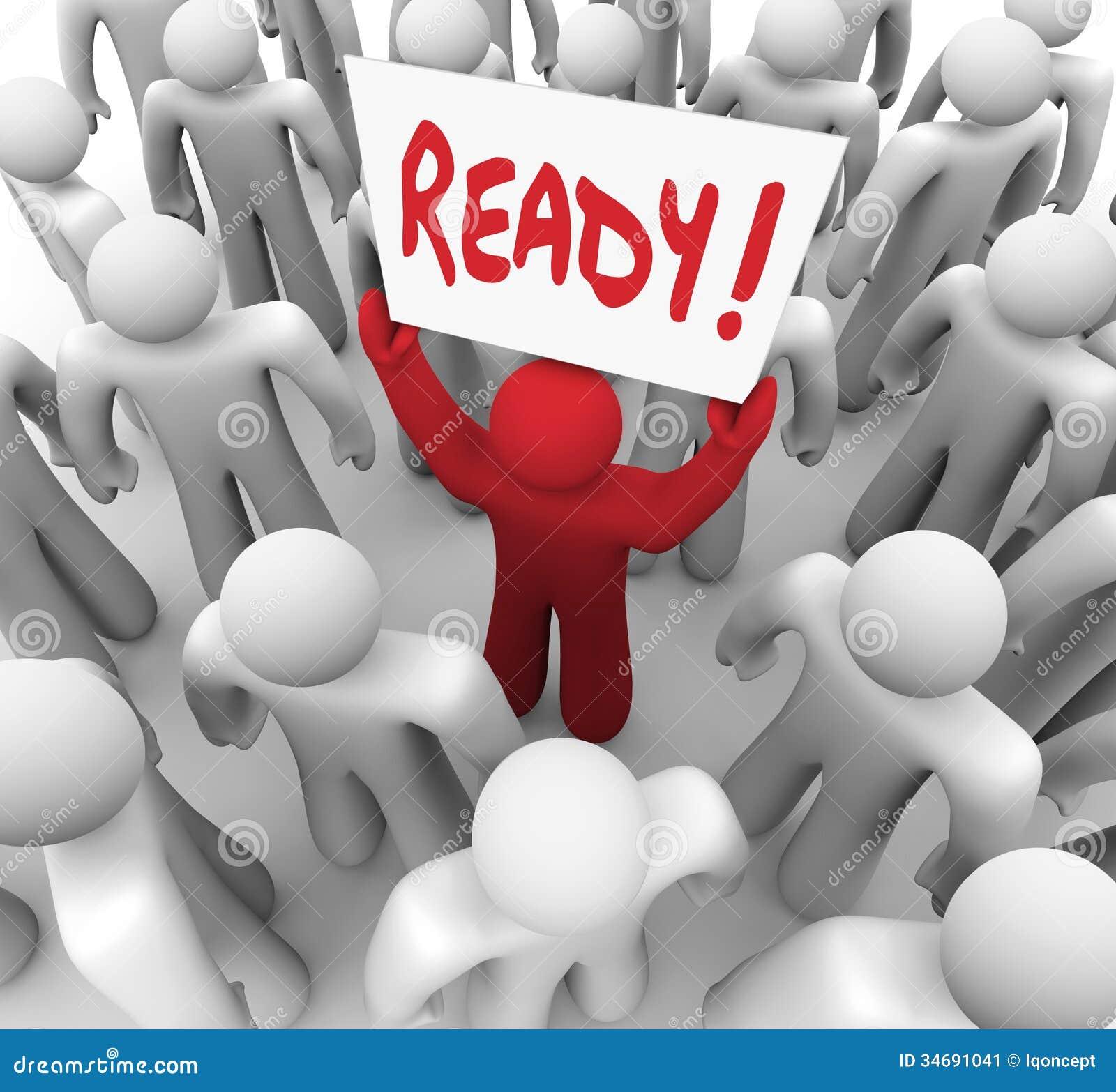 Homem pronto do sinal preparado para o passo seguinte do desafio