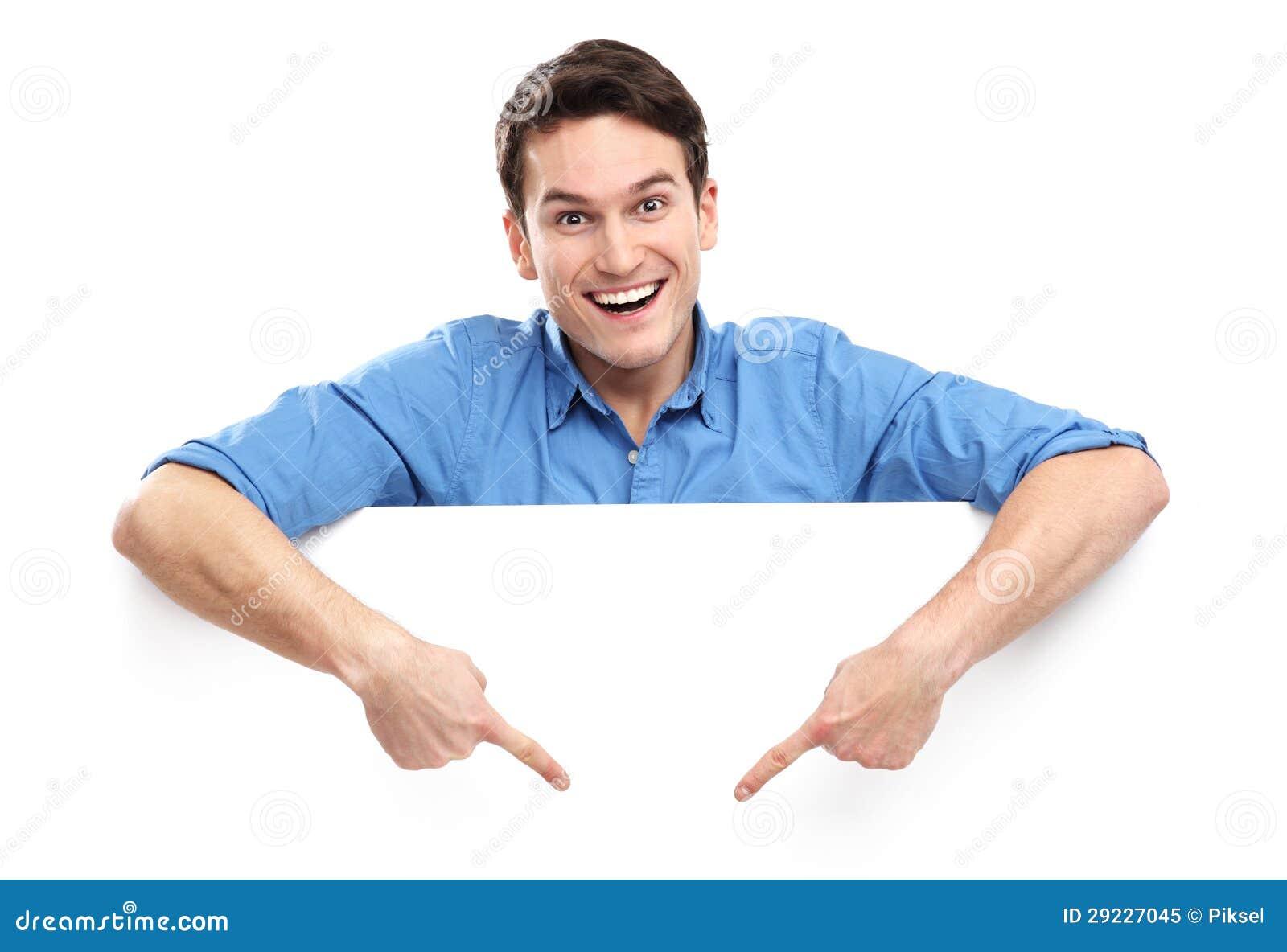 Download Homem Que Aponta Para Baixo No Whiteboard Vazio Imagem de Stock - Imagem de felicidade, blank: 29227045