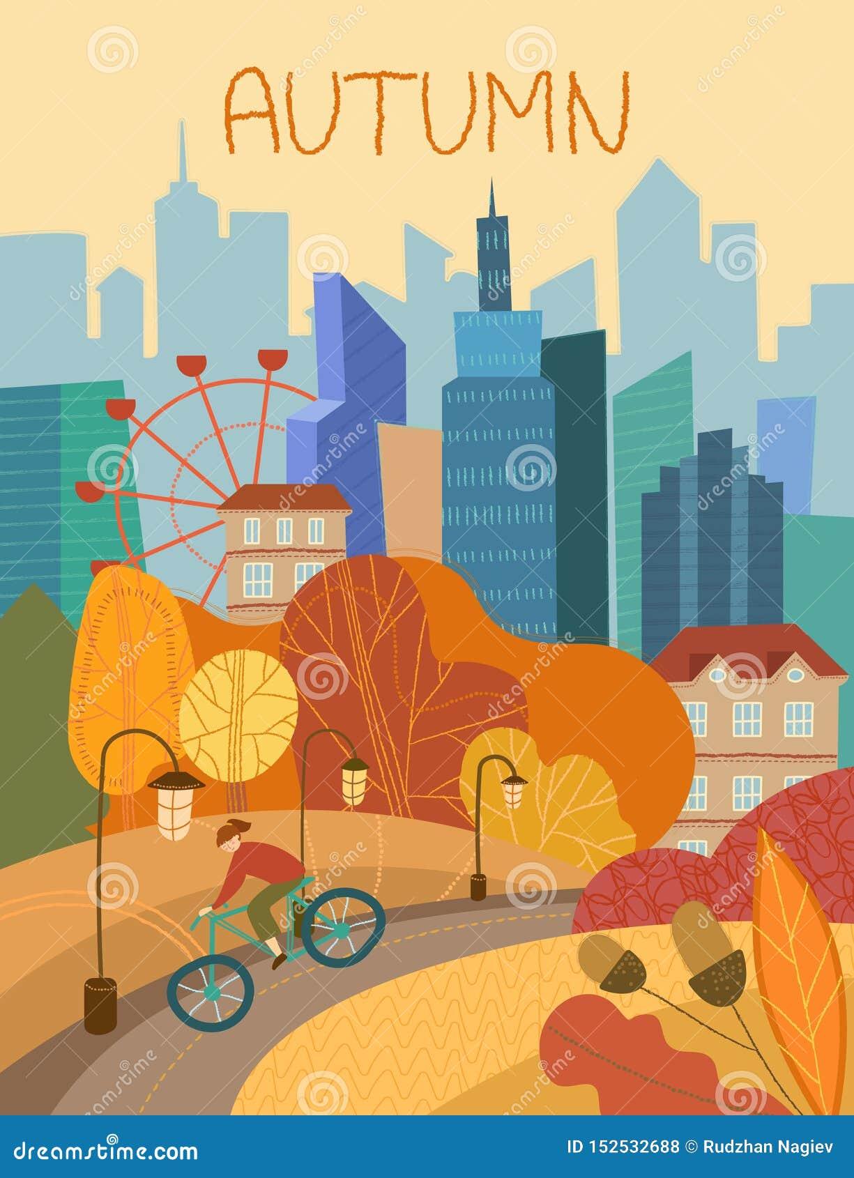 Homem que dá um ciclo através de um parque da cidade no outono com folha alaranjada colorida nas árvores conceptuais das estações