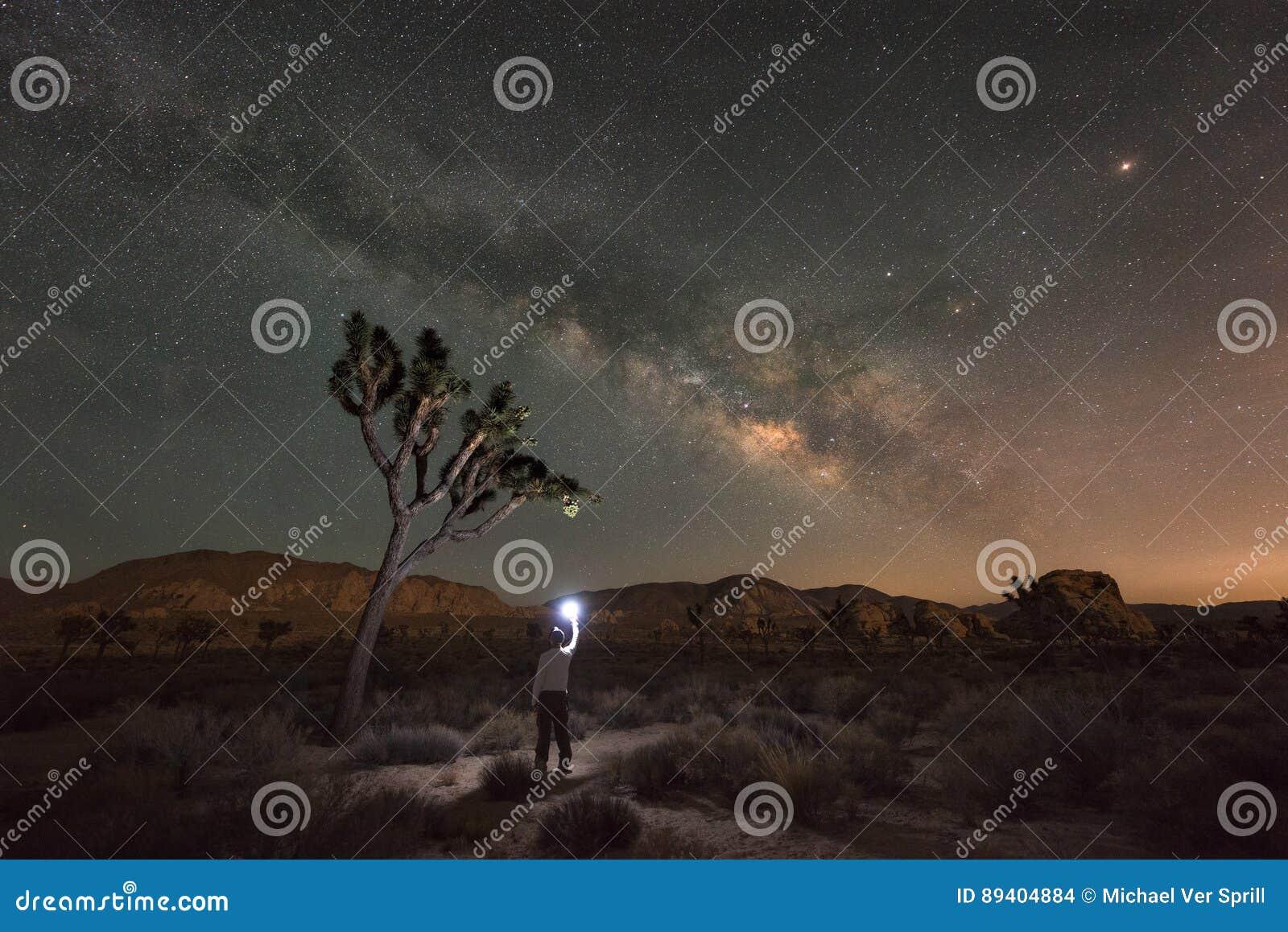 Homem que explora Joshua Tree National Park na noite