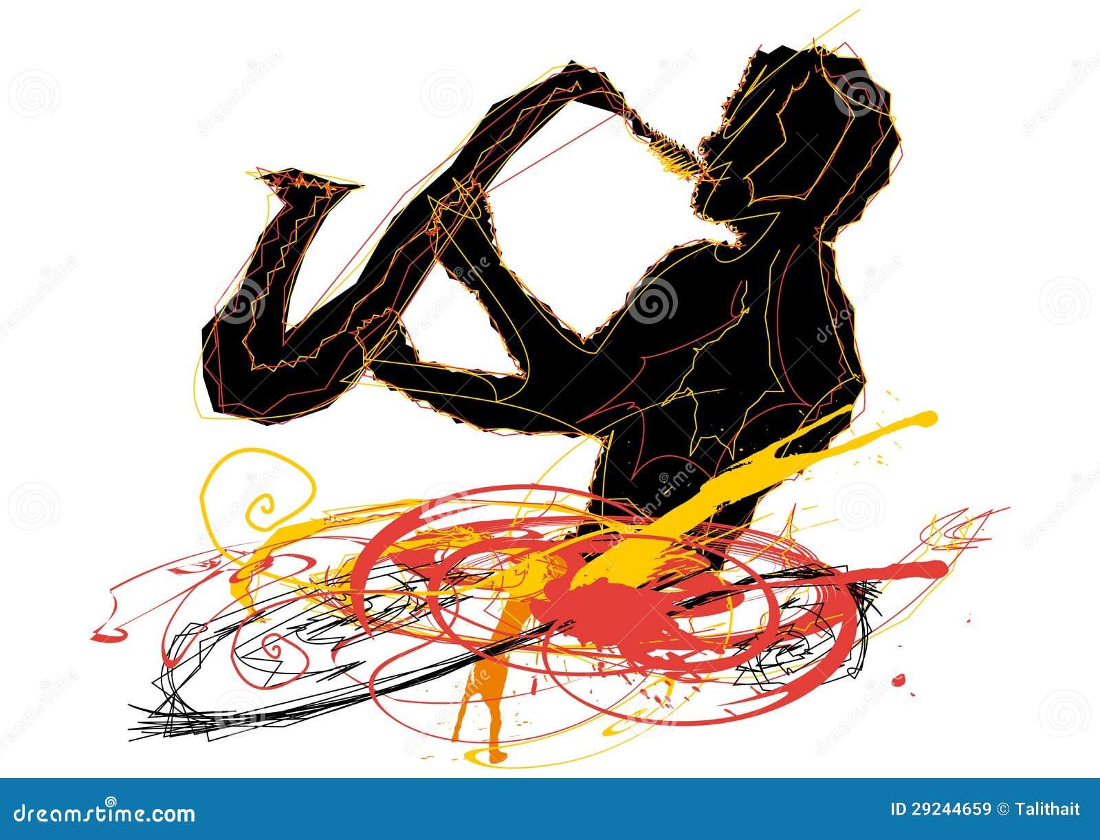Download Homem que joga o saxofone ilustração do vetor. Ilustração de evento - 29244659