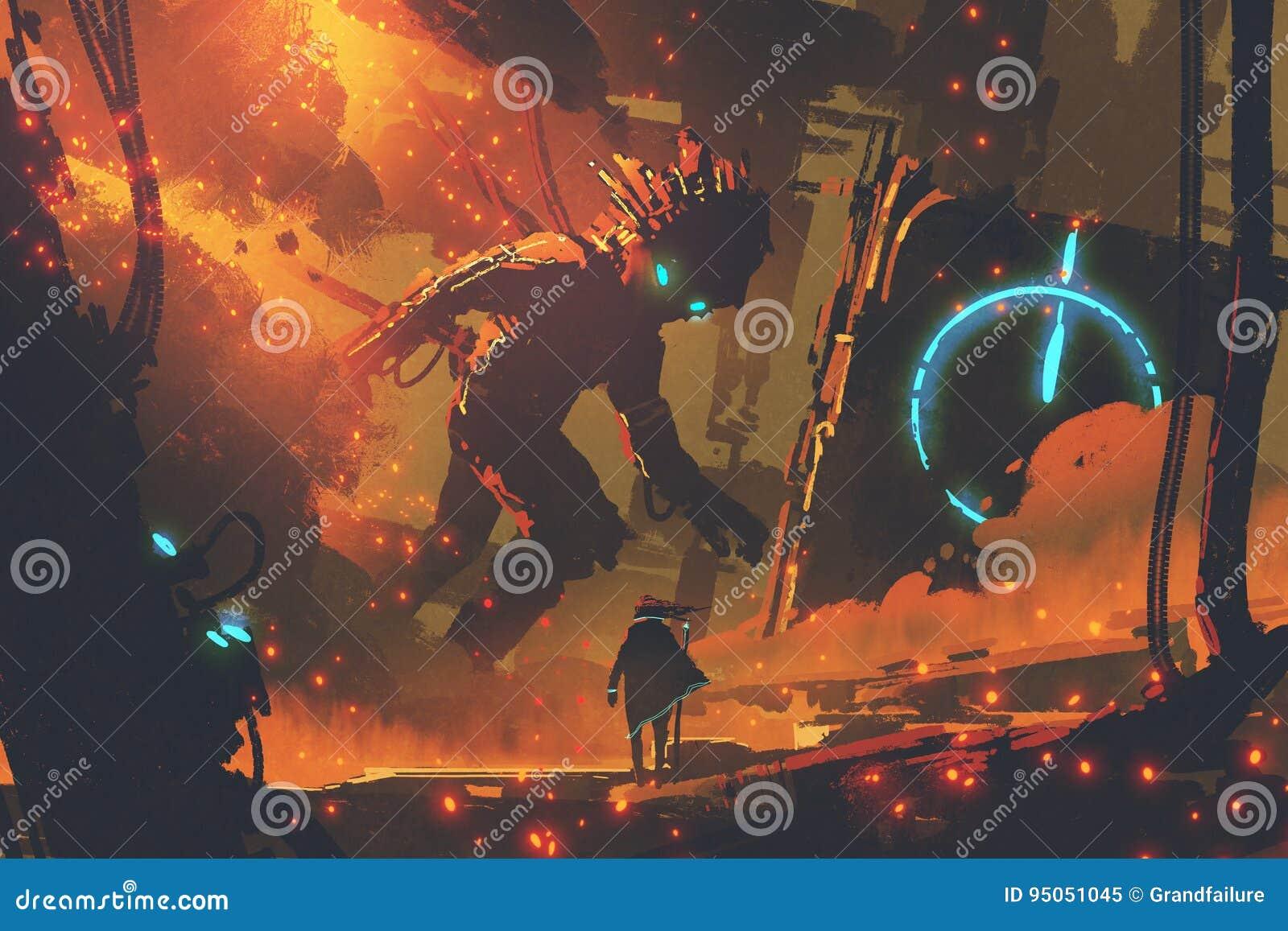 Homem que olha o robô gigante
