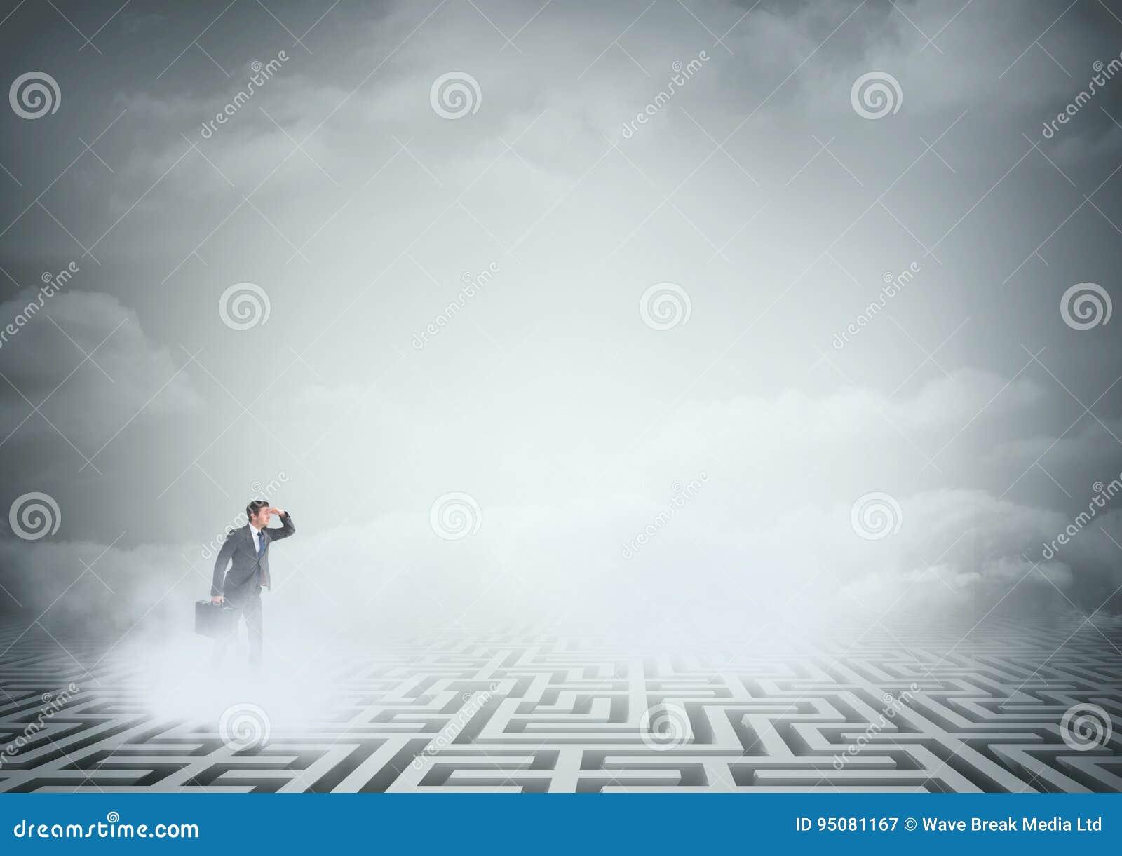 Homem que procura em um labirinto com nuvens