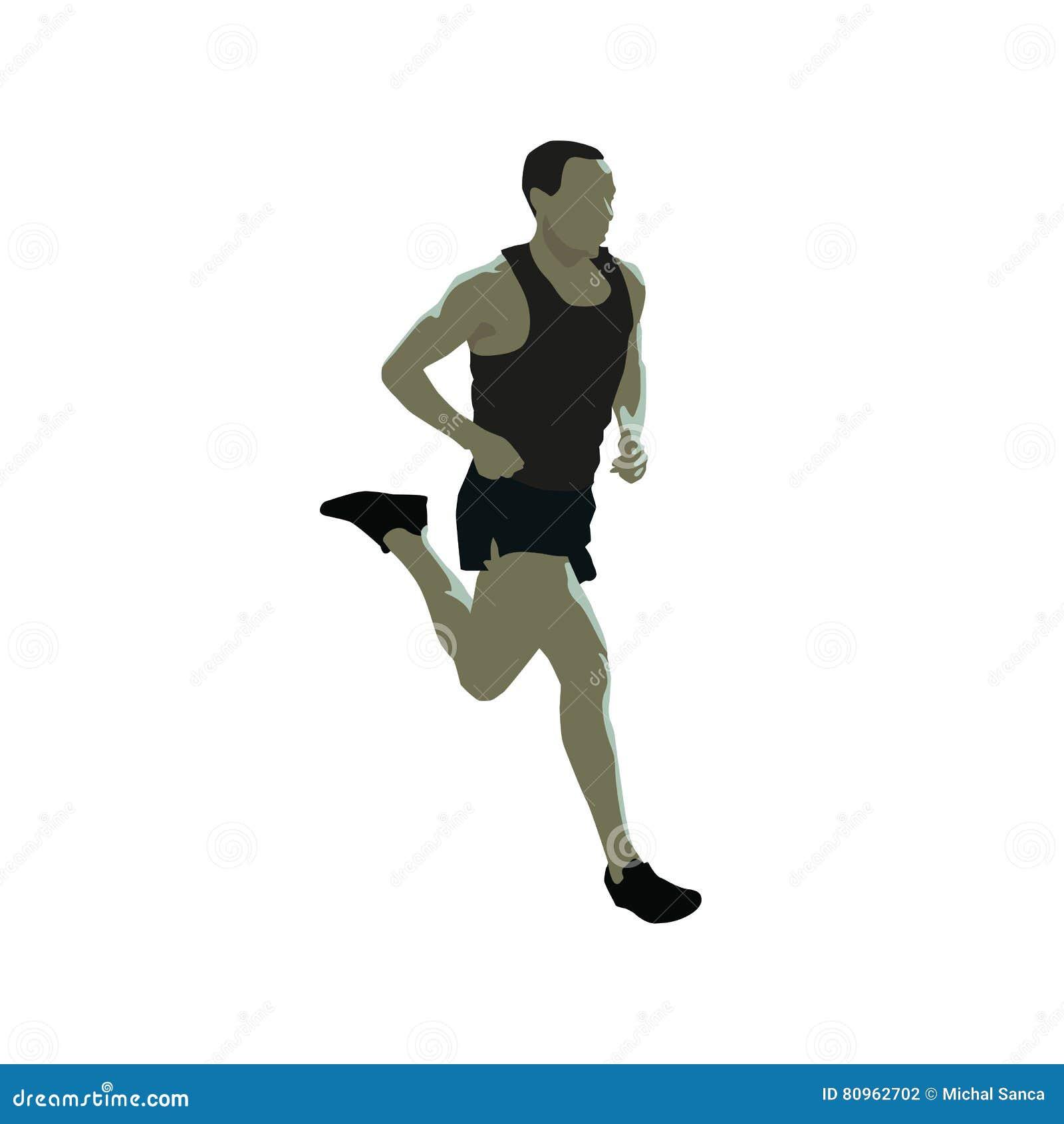 Homem running, ilustração lisa do vetor