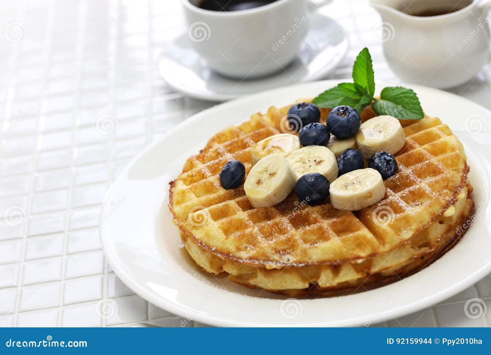 Homemade american round waffles