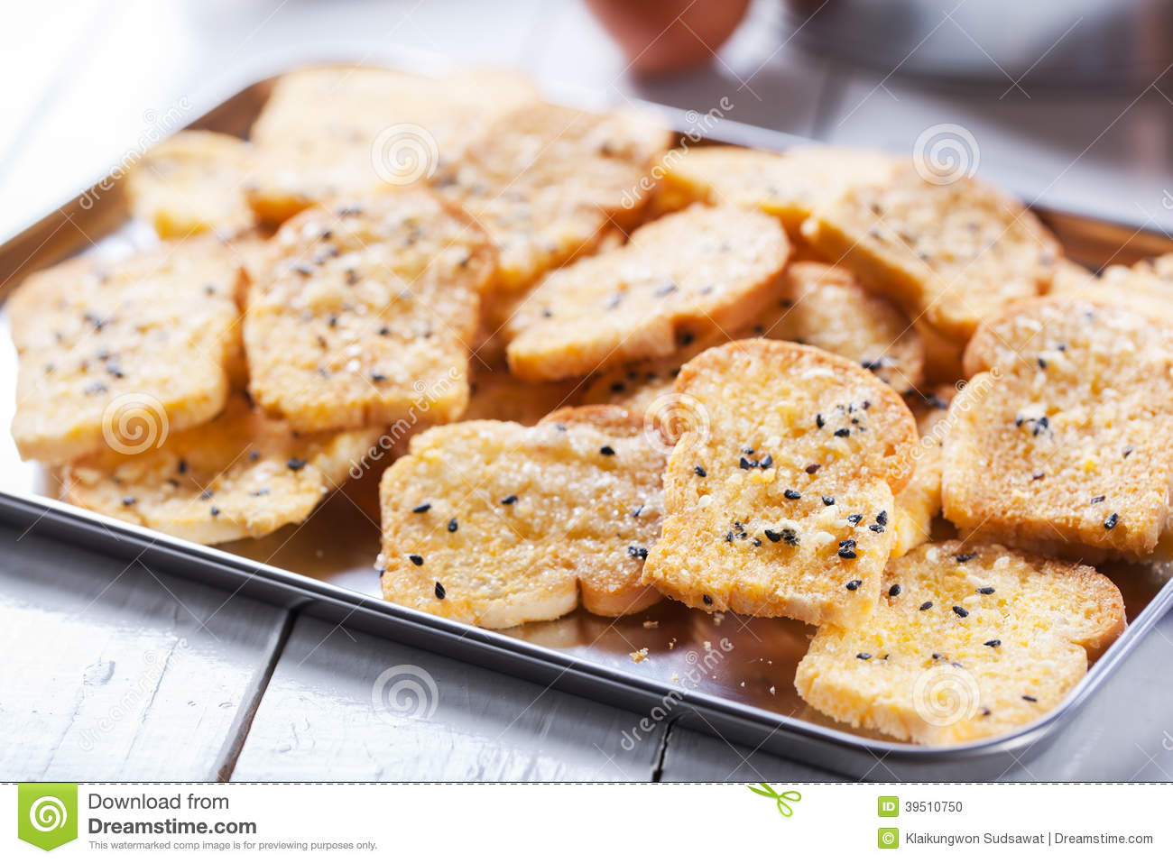 Homemade baking toast with sugar and sesame