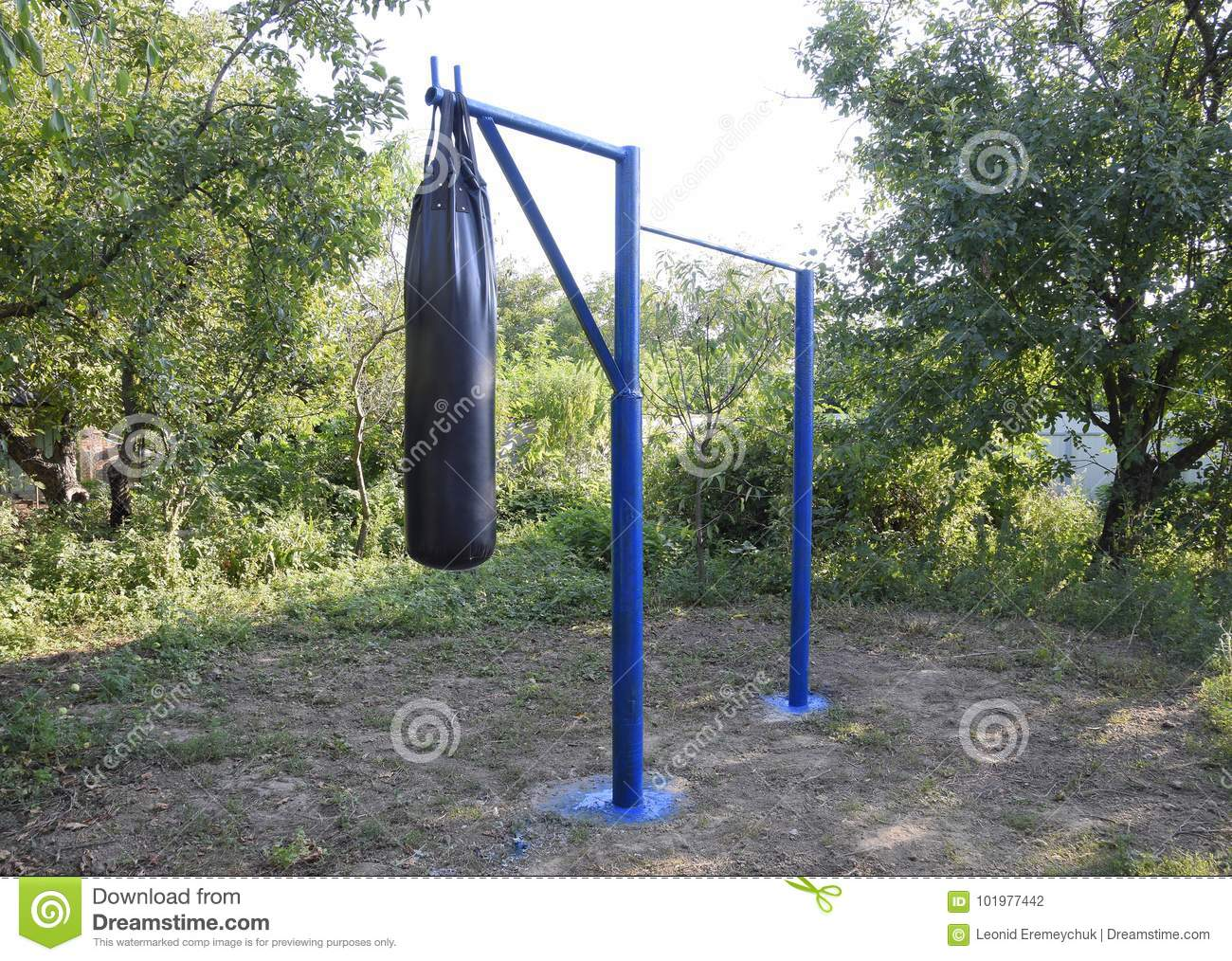 Homemade Bar With A Punching Bag Outdoors In The Garden Stock Photo