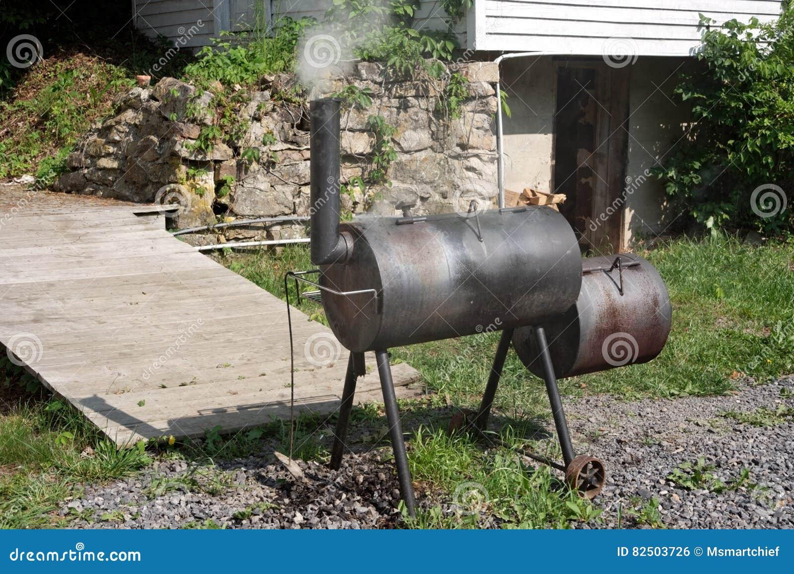 Homemade Bbq Smoker Stock Photo Image Of Homemade Smoker 82503726