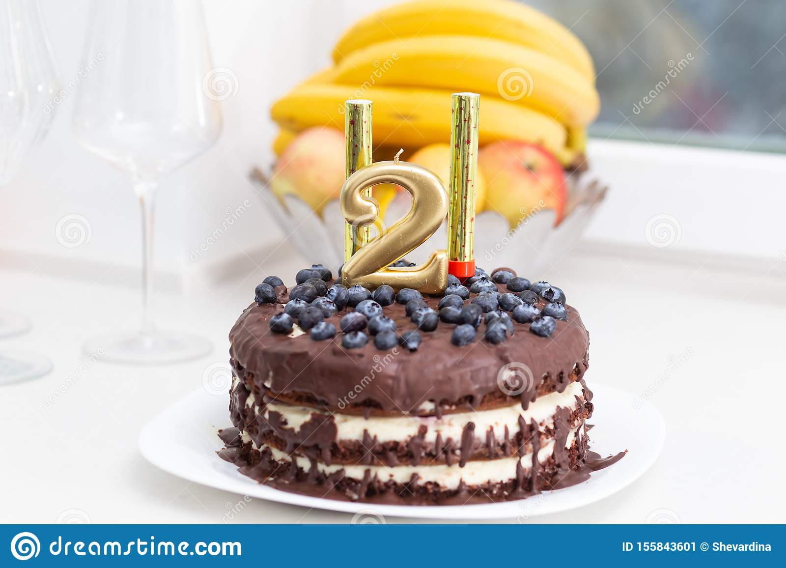 Peachy Homemade Birthday Cake With Chocolate And Blueberries Stock Image Funny Birthday Cards Online Fluifree Goldxyz