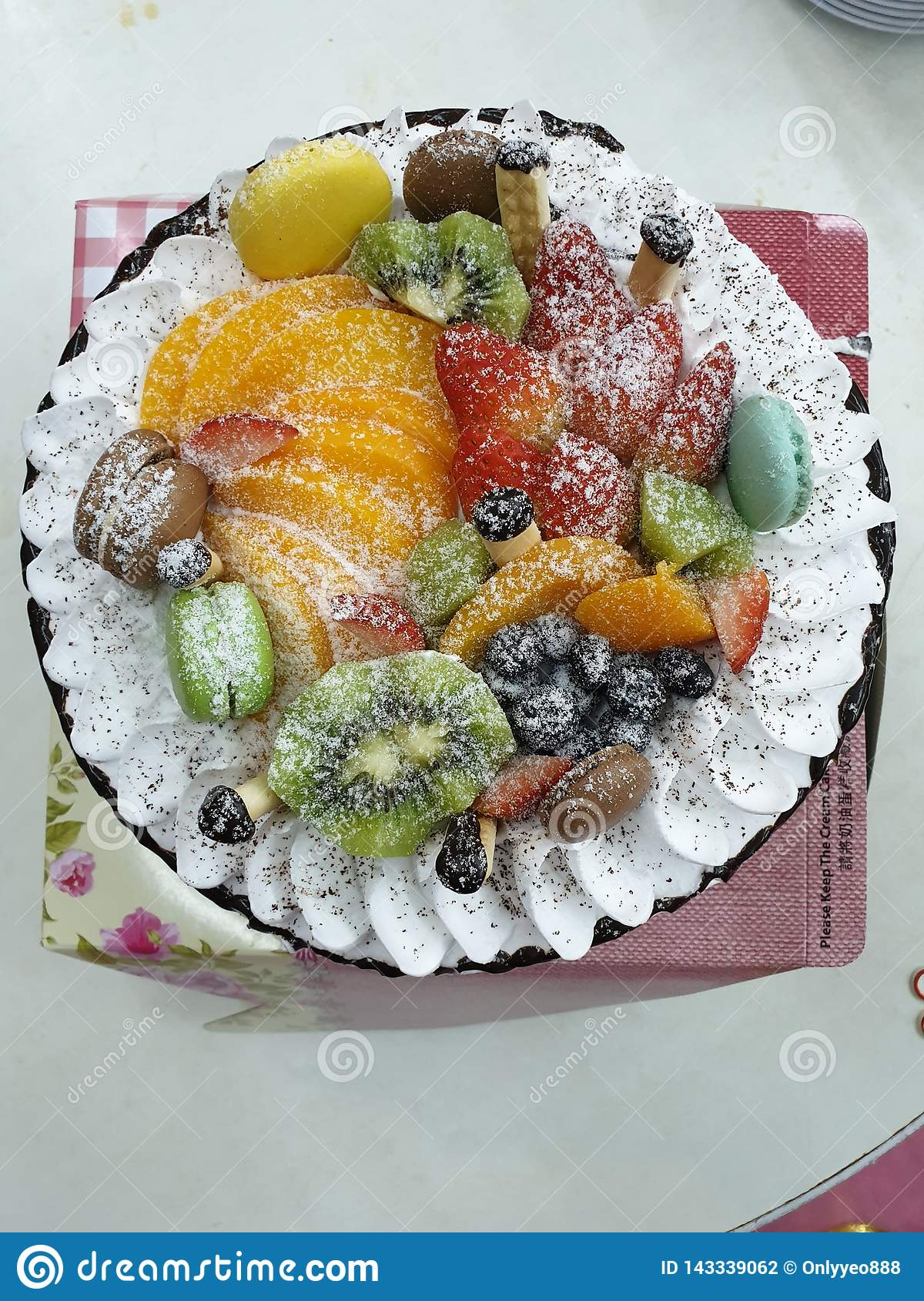 Fine The Homemade Birthday Cake With Lots Of Fruits On Top Stock Photo Personalised Birthday Cards Paralily Jamesorg