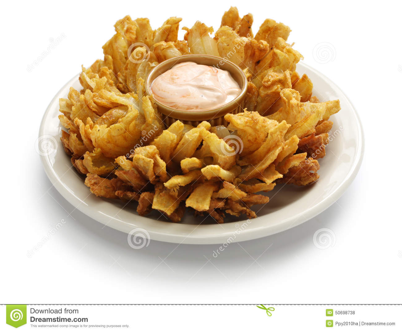 Homemade blooming onion isolated on white background