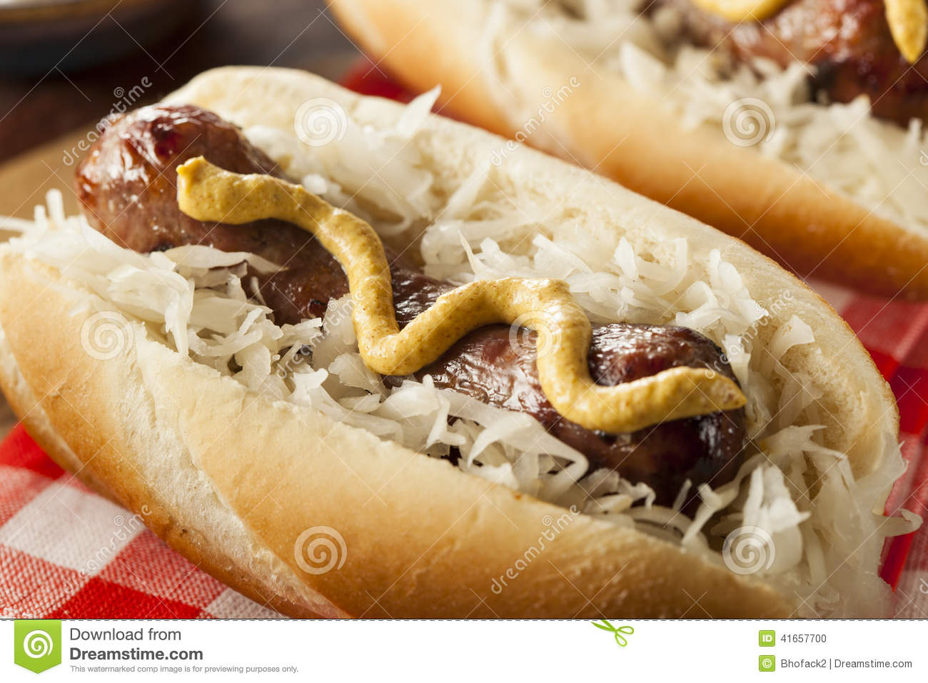 Homemade Bratwurst With Sauerkraut Stock Photo - Image: 41657700