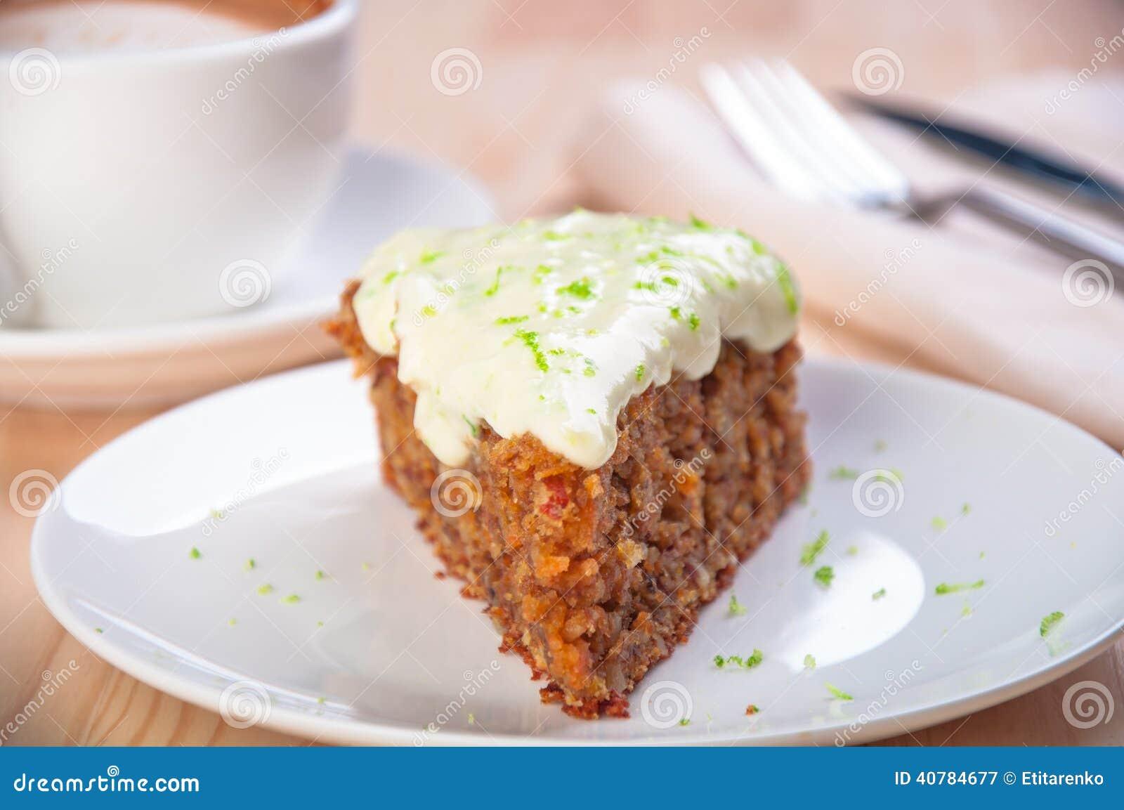 Homemade carrot cake dessert on the white plate