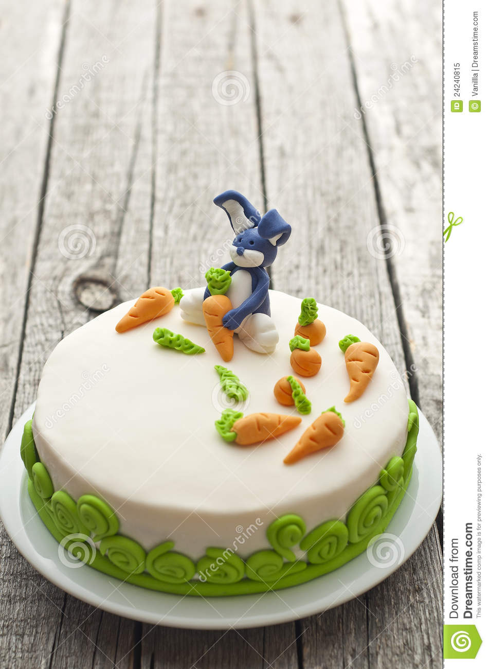 Homemade Cake Decoration Images : Homemade Carrot Cake With Rabbit Decoration Royalty Free ...