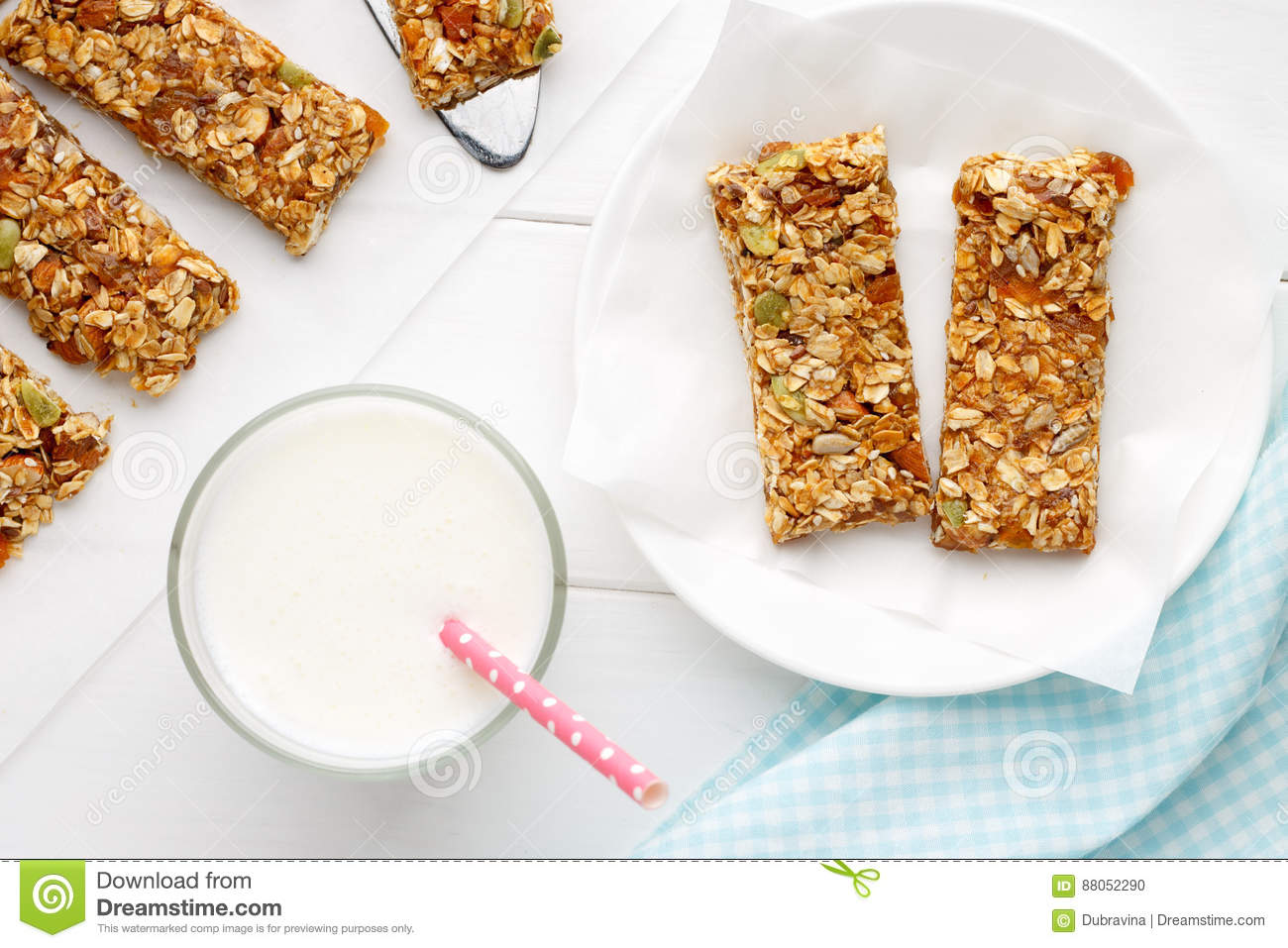 Homemade cereal snacks for healthy eating granola bars with milk on download homemade cereal snacks for healthy eating granola bars with milk on white wooden background ccuart Image collections