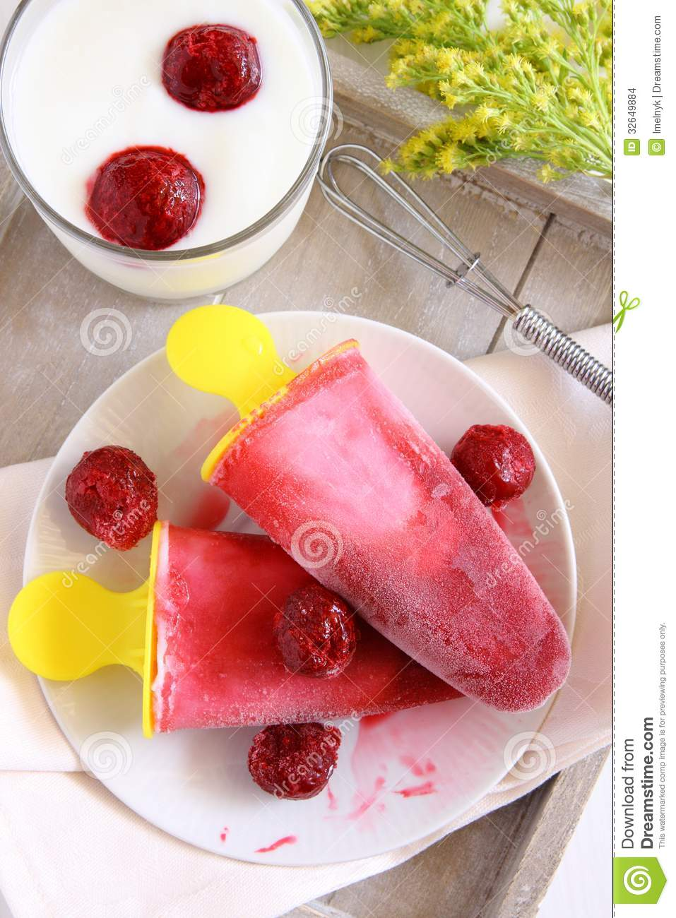 Homemade Cherry Ice Cream Popsicle With Yogurt Stock Images - Image ...