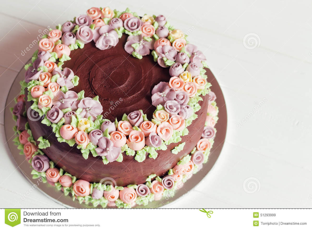 Homemade Cake Decoration Without Cream : Homemade Chocolate Cake With Colorful Cream Flowers Stock ...